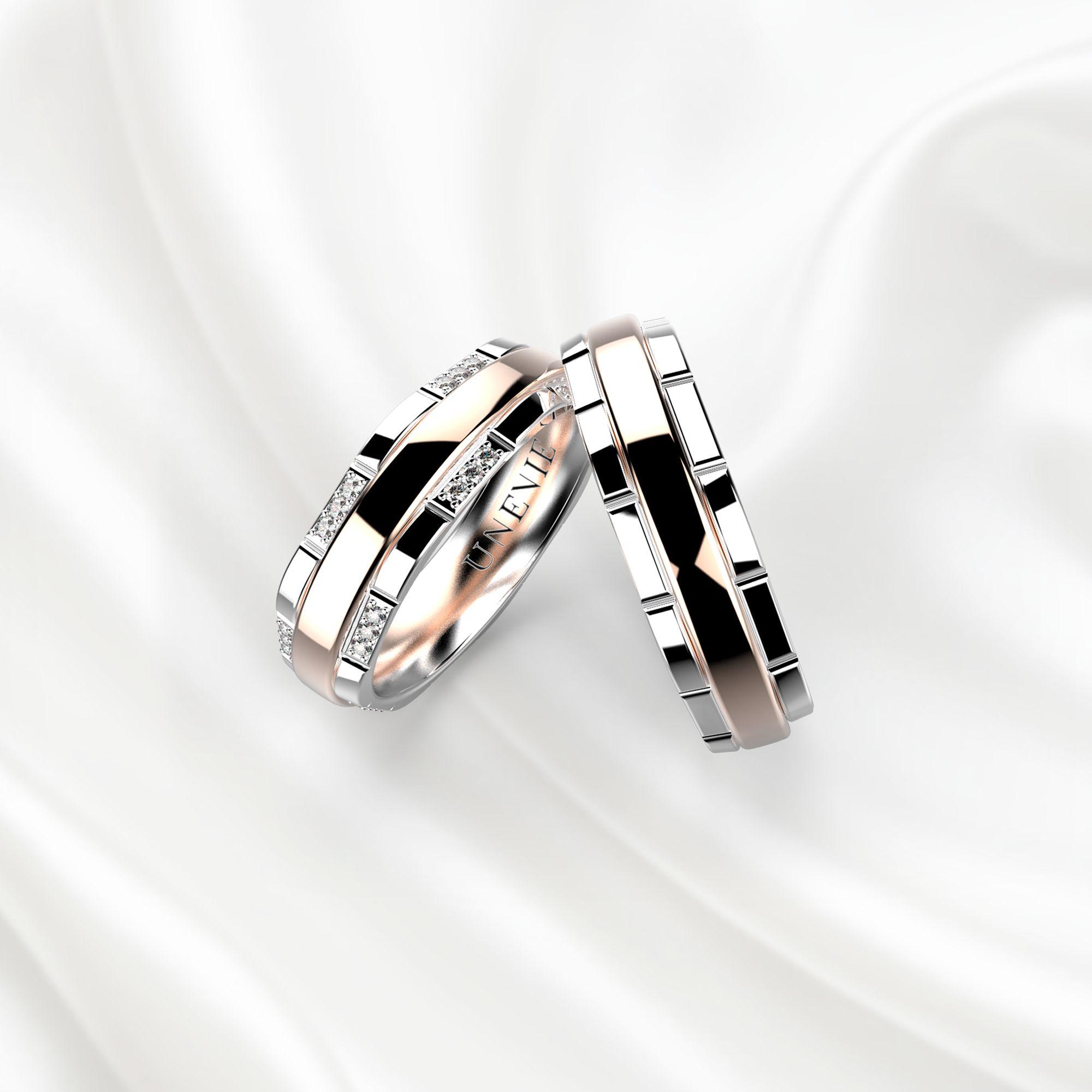 Парные обручальные кольца из розово-белого золота с бриллиантами