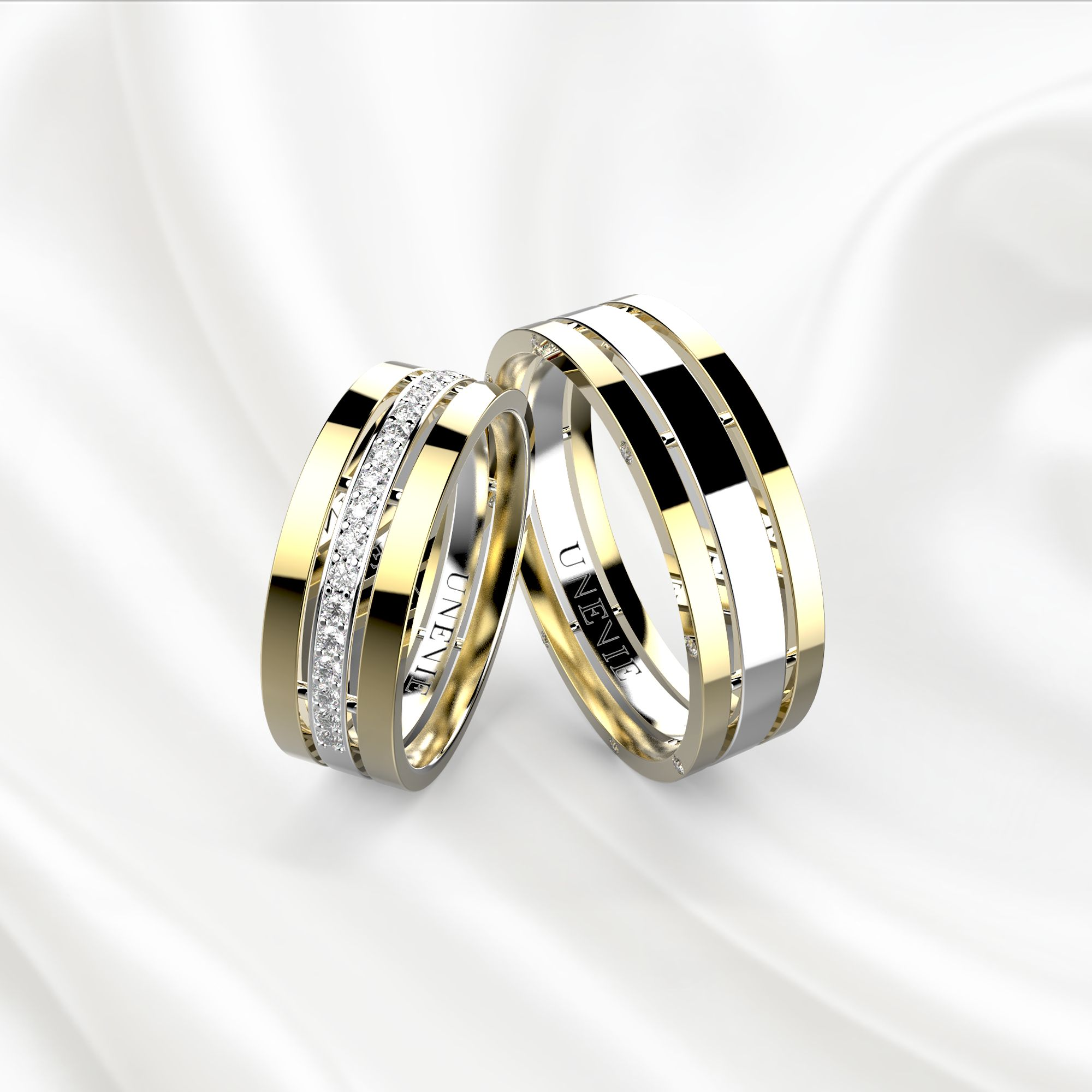 NV12 Обручальные кольца из желто-белого золота