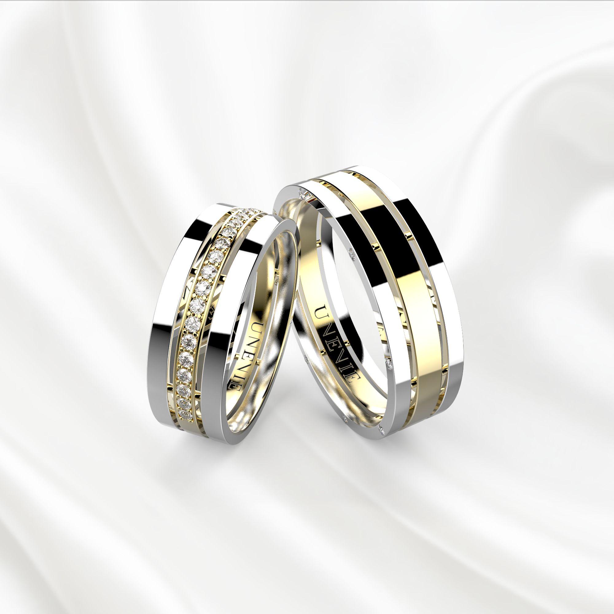 NV12 Обручальные кольца из бело-желтого золота