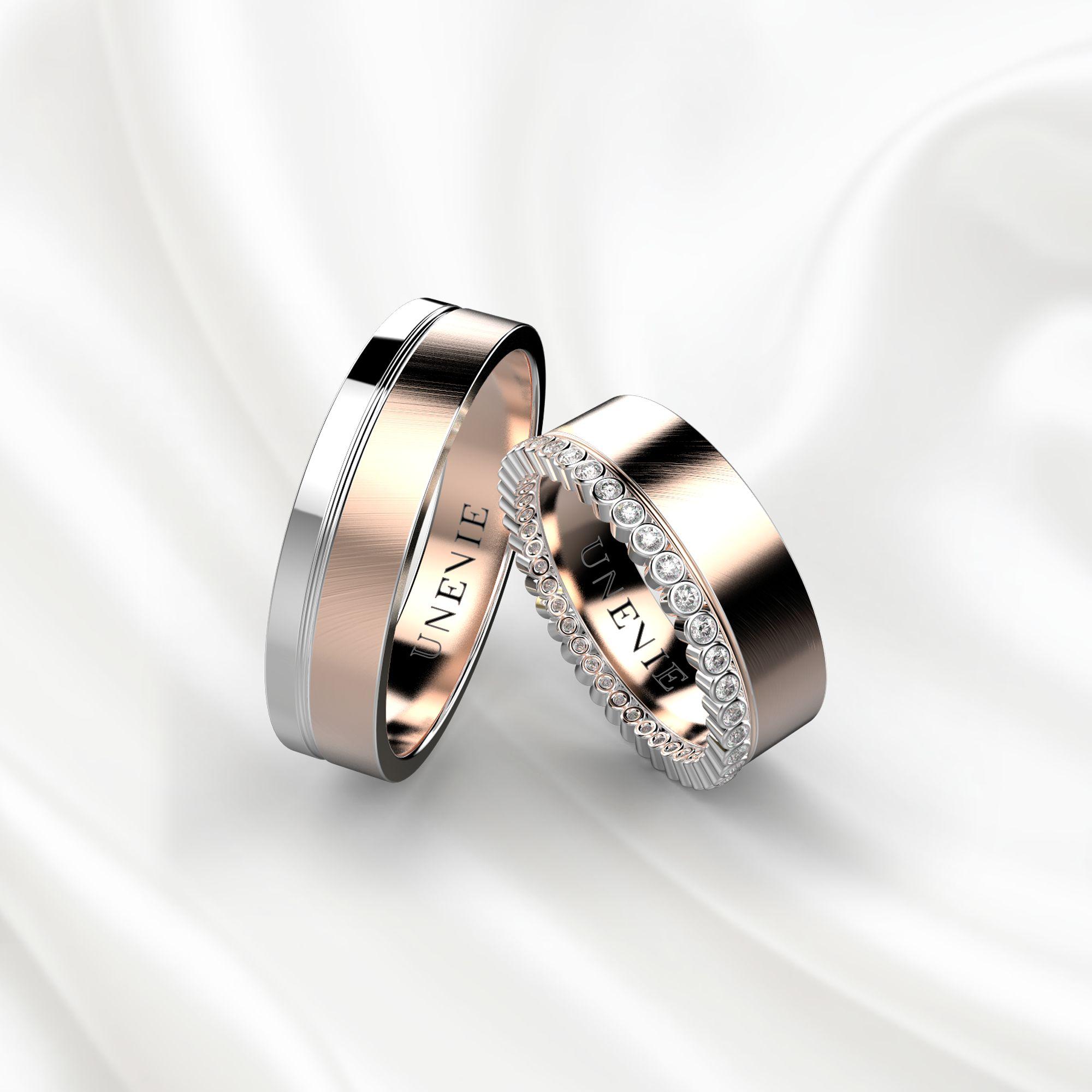 Парные обручальные кольца из бело-розового золота с бриллиантами