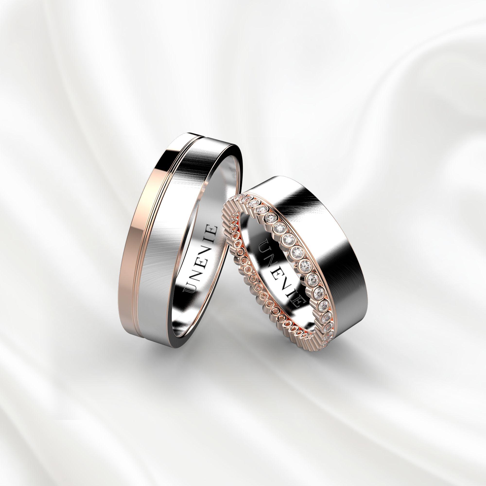 NV1 Обручальные кольца из розово-белого золота