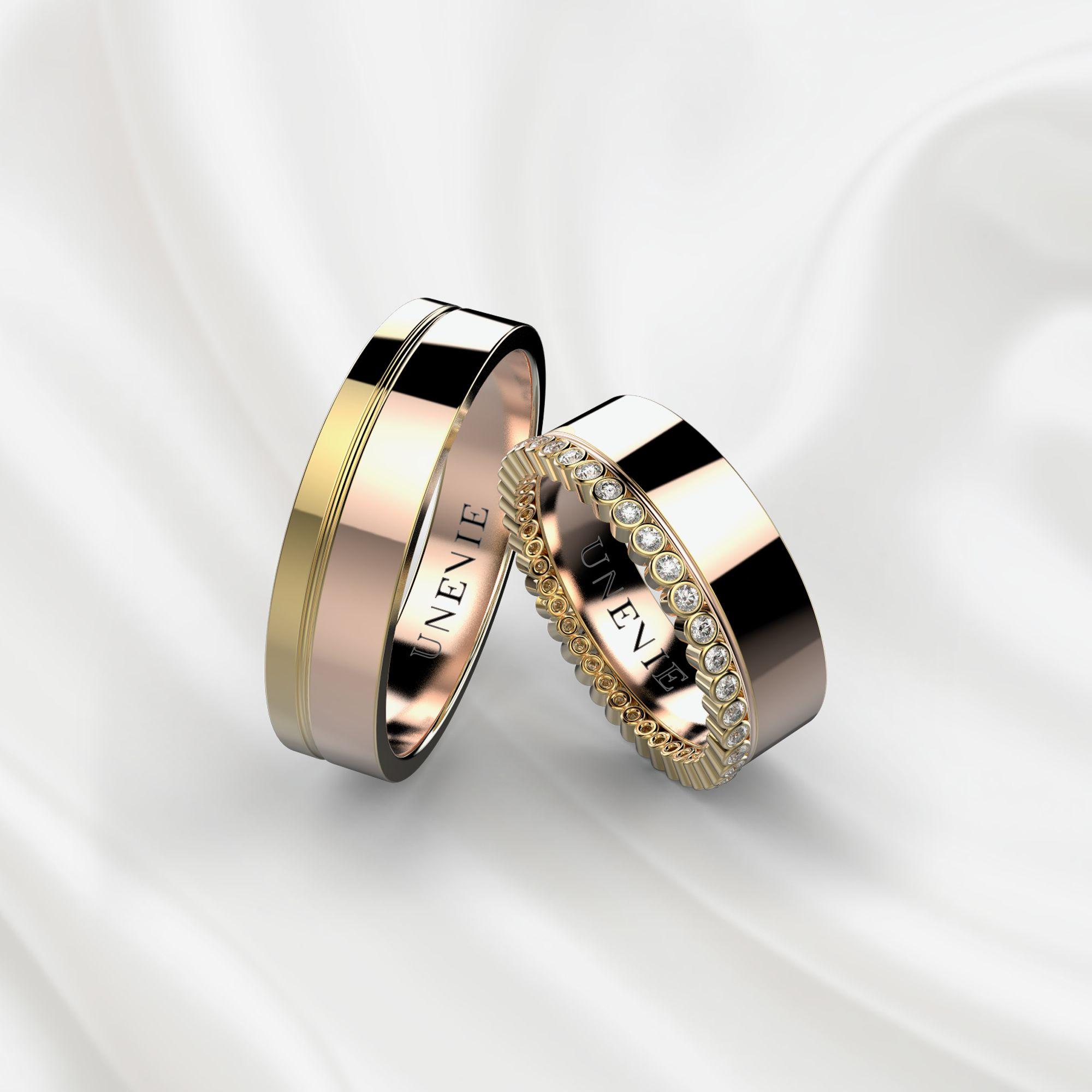 Парные обручальные кольца из желто-розового золота с бриллиантами