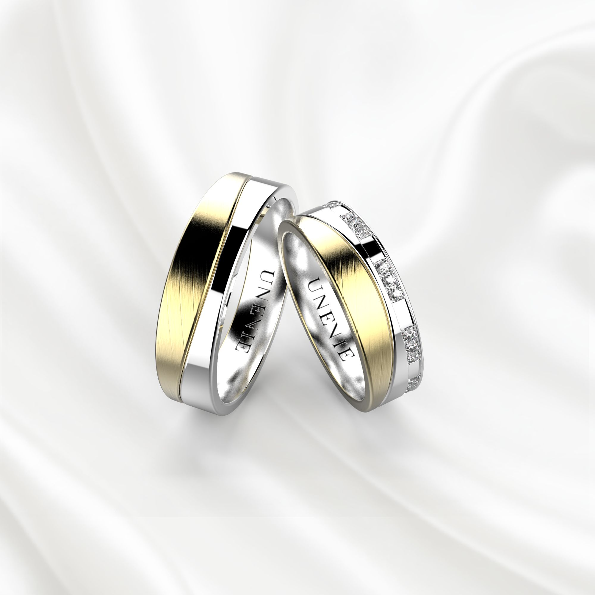 NV4 Обручальные кольца из желто-белого золота