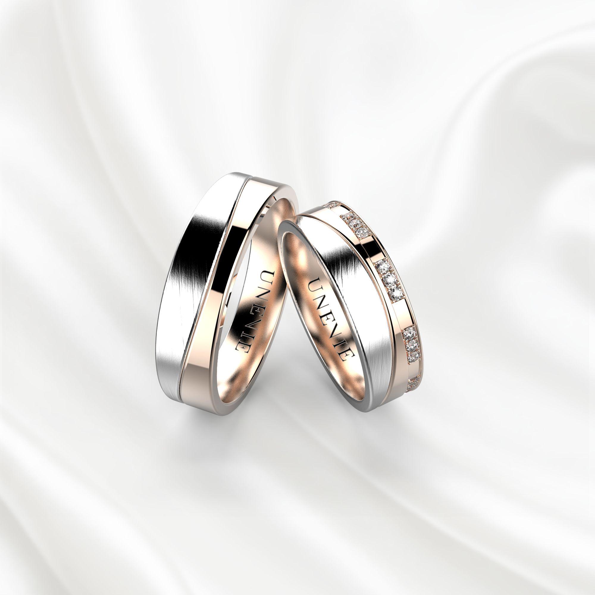 NV4 Обручальные кольца из бело-розового золота