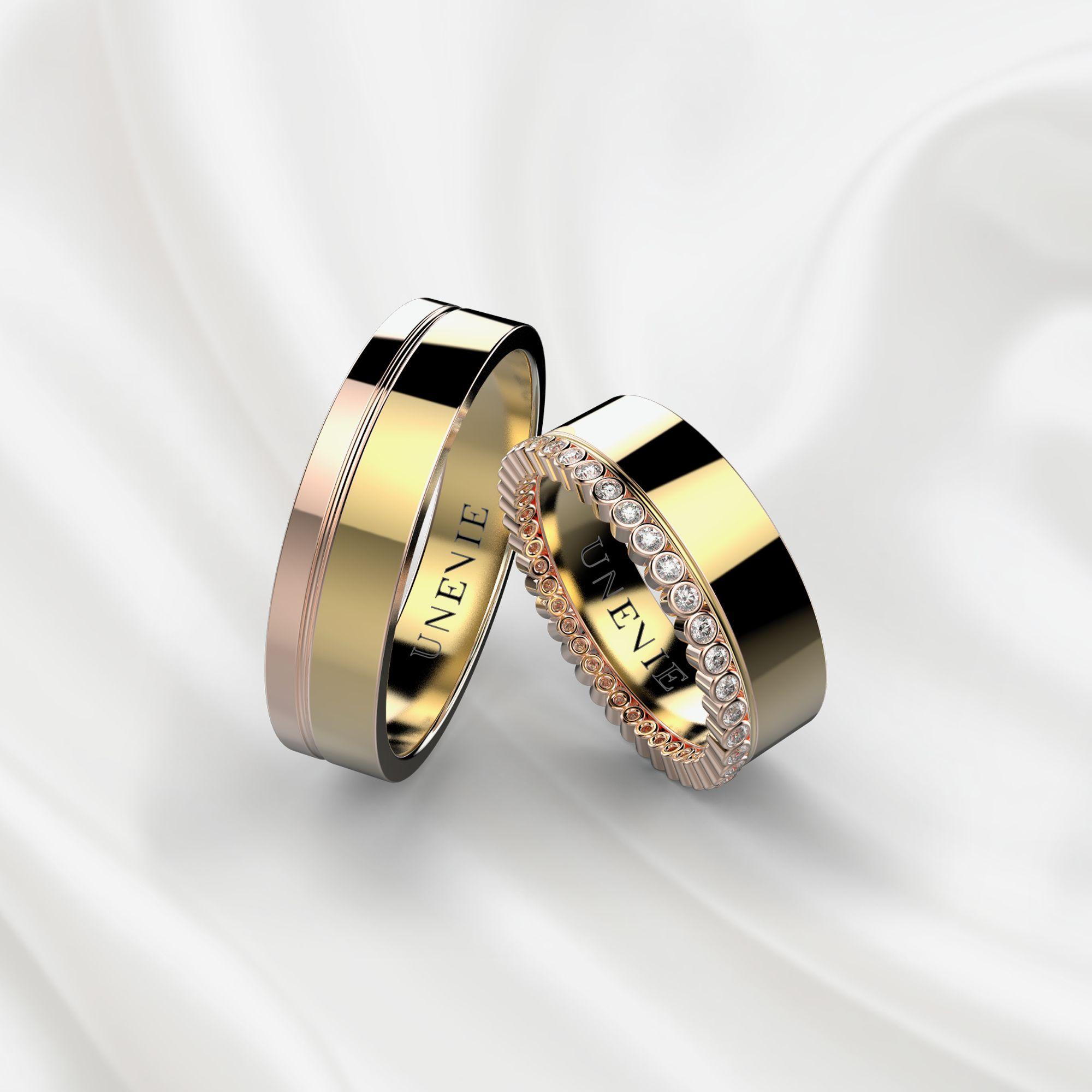 NV1 Парные обручальные кольца из розово-желтого золота с бриллиантами