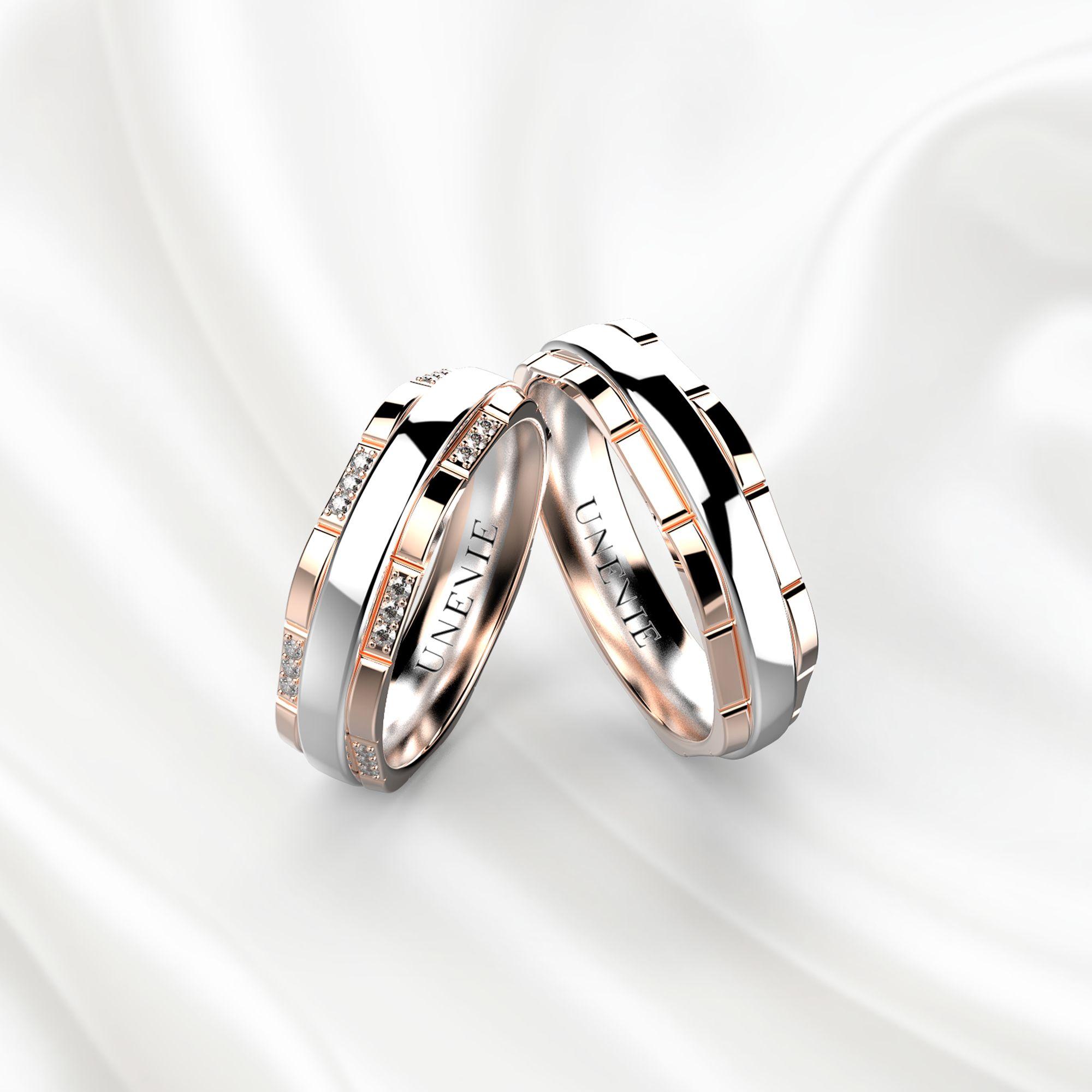 NV2 Обручальные кольца из розово-белого золота