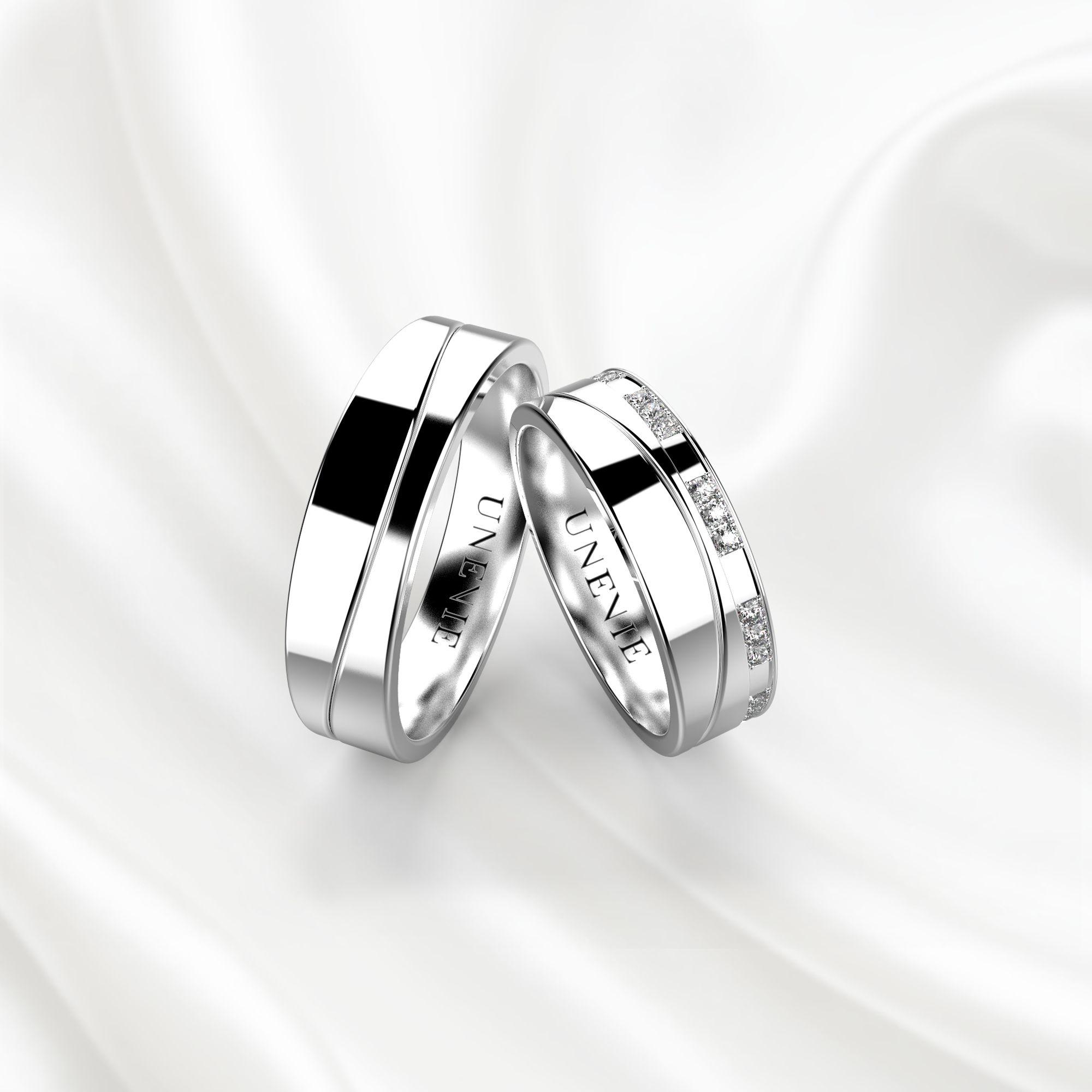 NV4 Обручальные кольца из белого золота