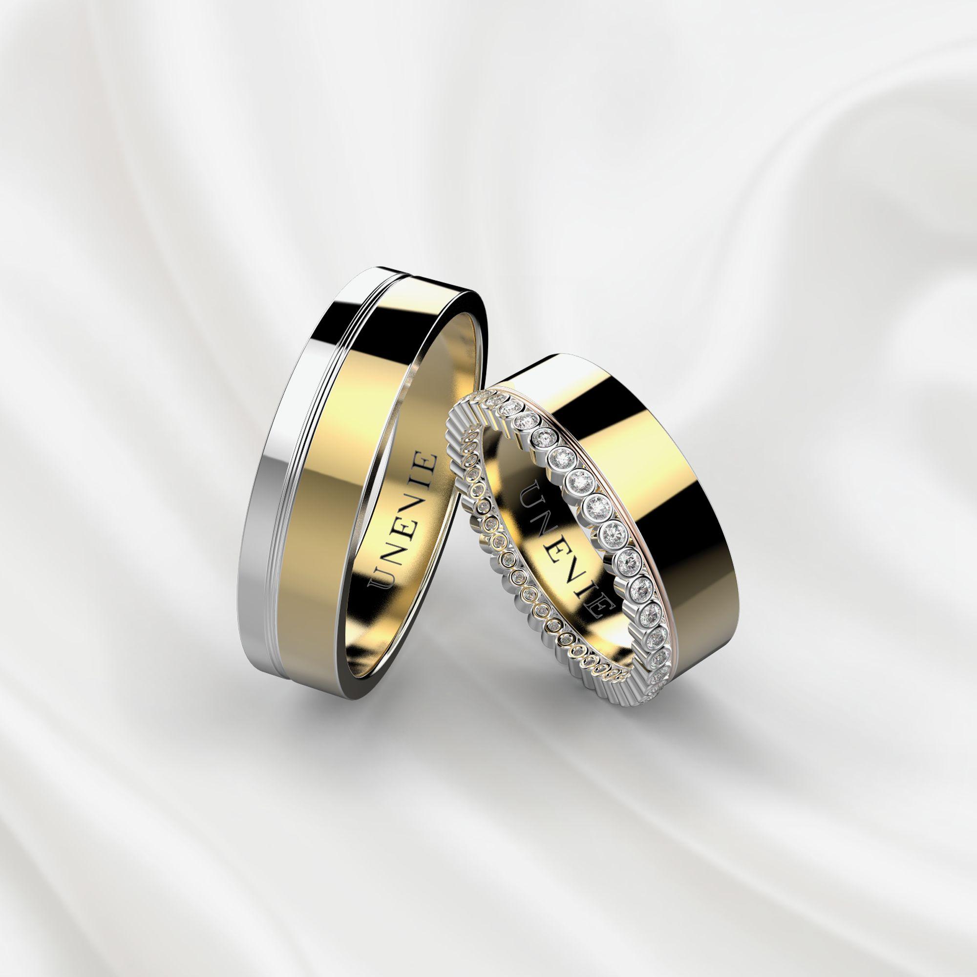 NV1 Обручальные кольца из бело-желтого золота