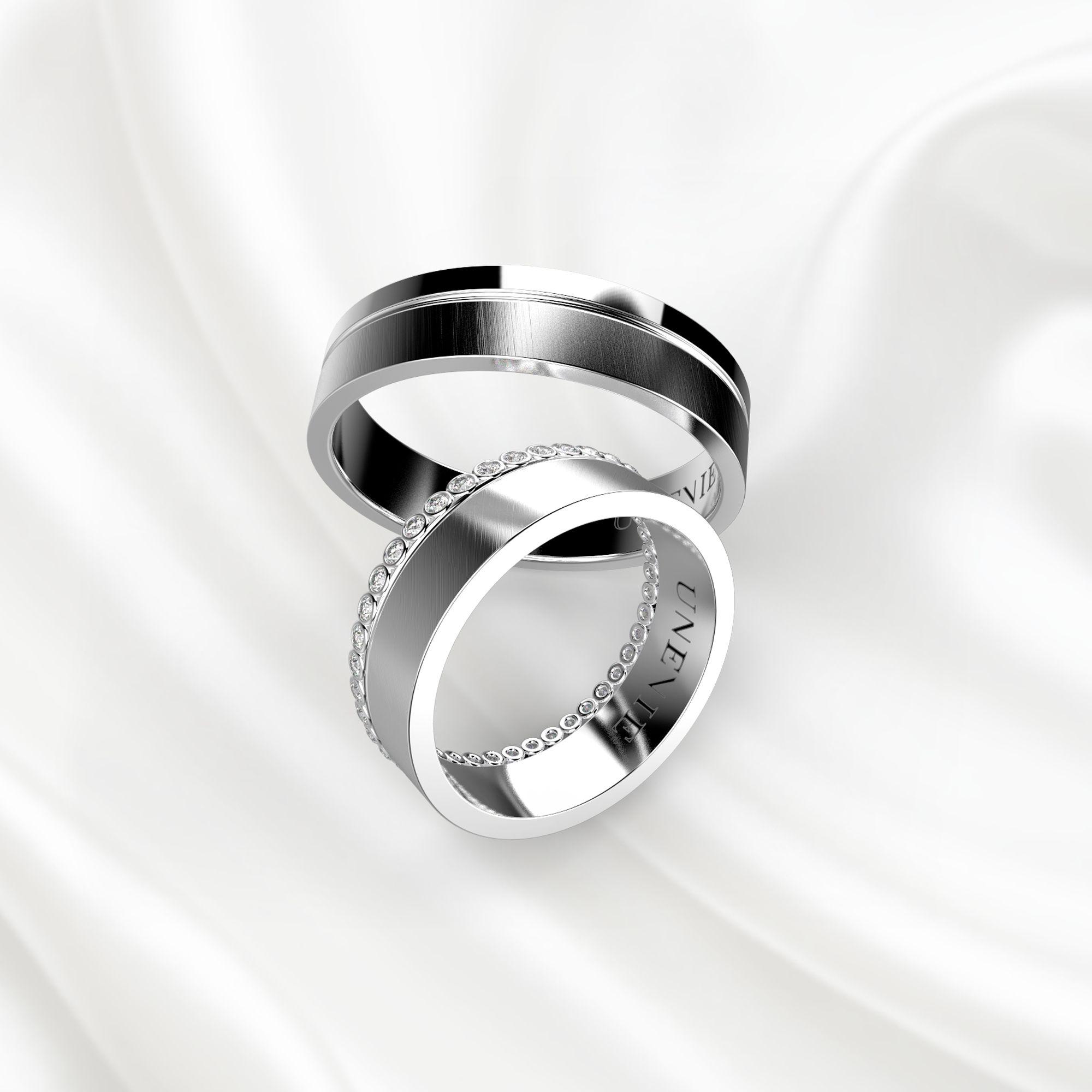 Парные обручальные кольца из белого золота с бриллиантами