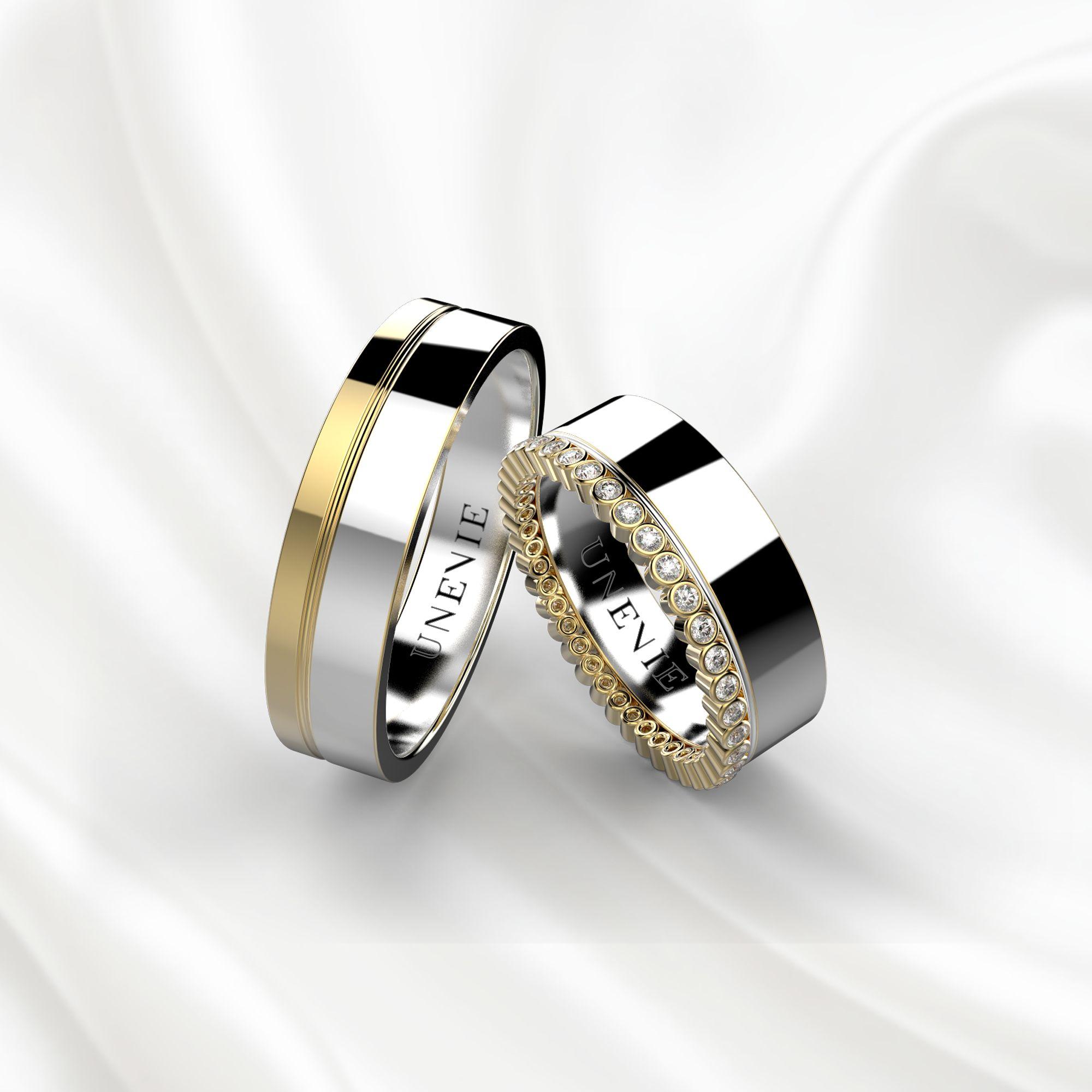 Парные обручальные кольца из желто-белого золота с бриллиантами