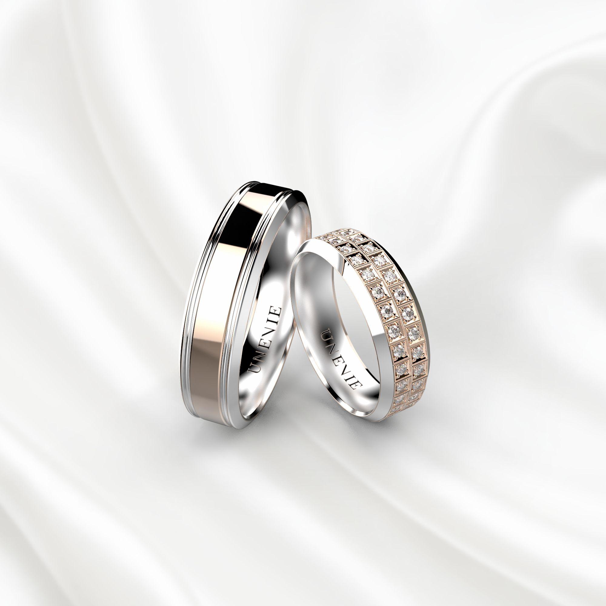 NV21 Обручальные кольца из бело-розового золота