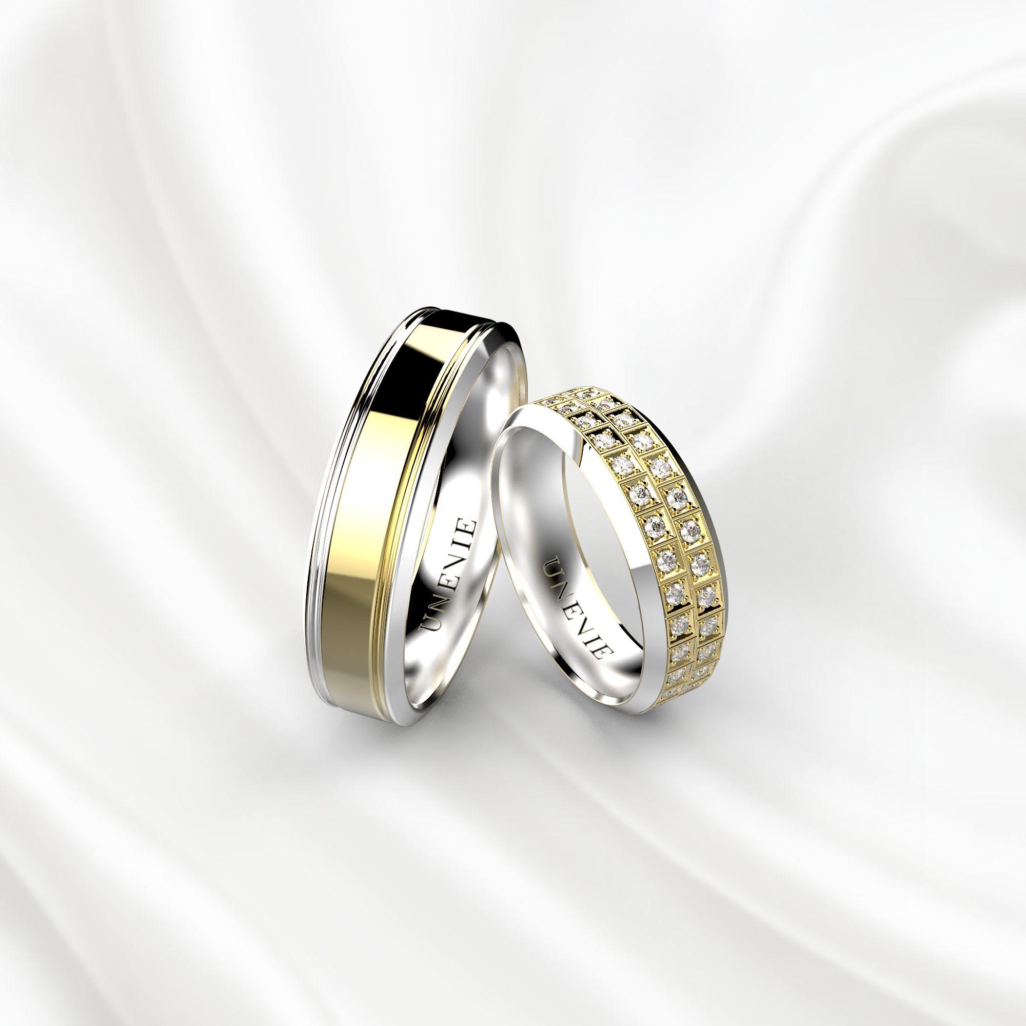 NV21 Обручальные кольца из бело-желтого золота