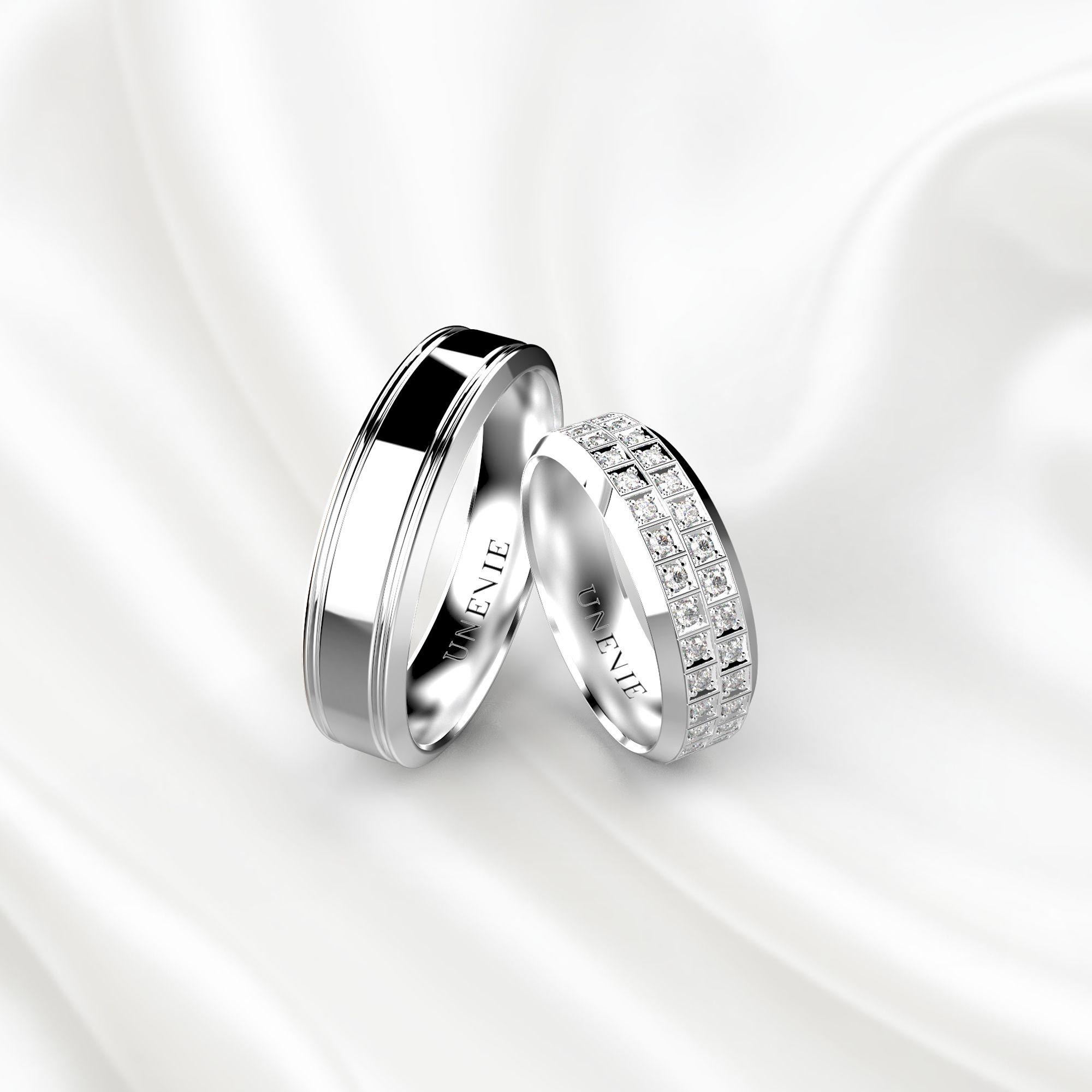 NV21 Обручальные кольца из белого золота