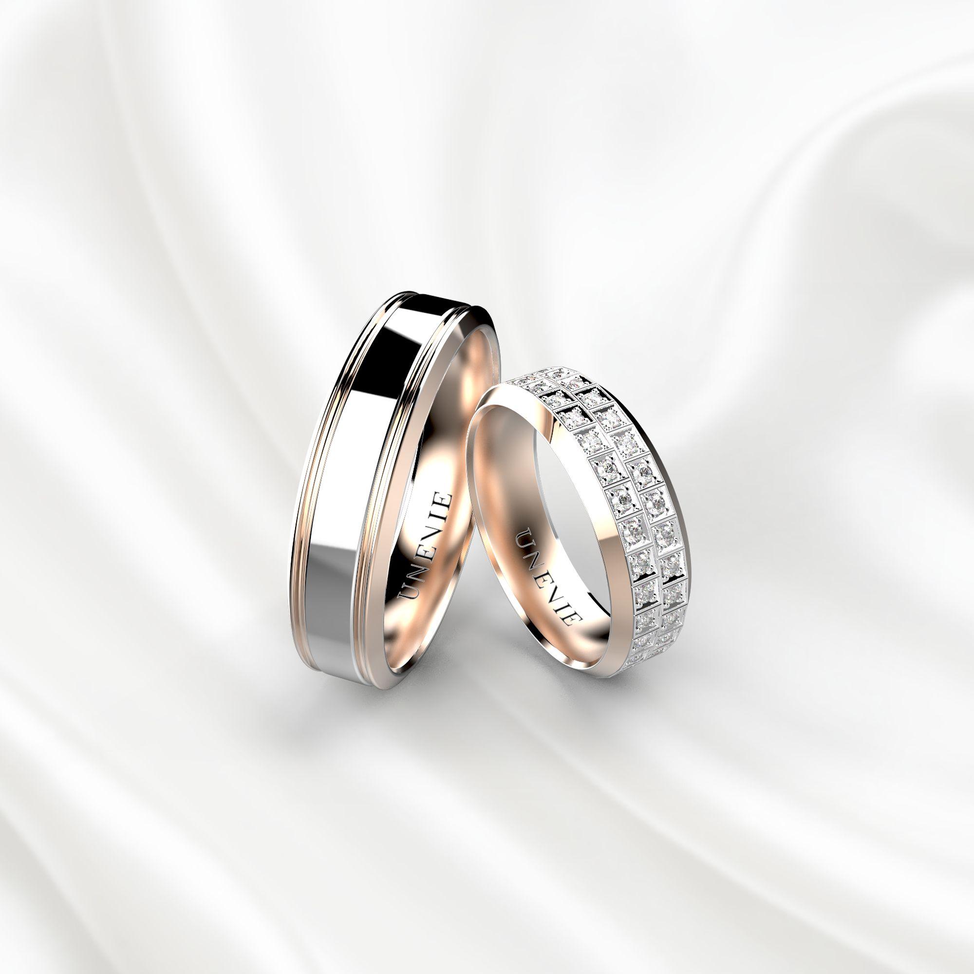 NV21 Обручальные кольца из розово-белого золота