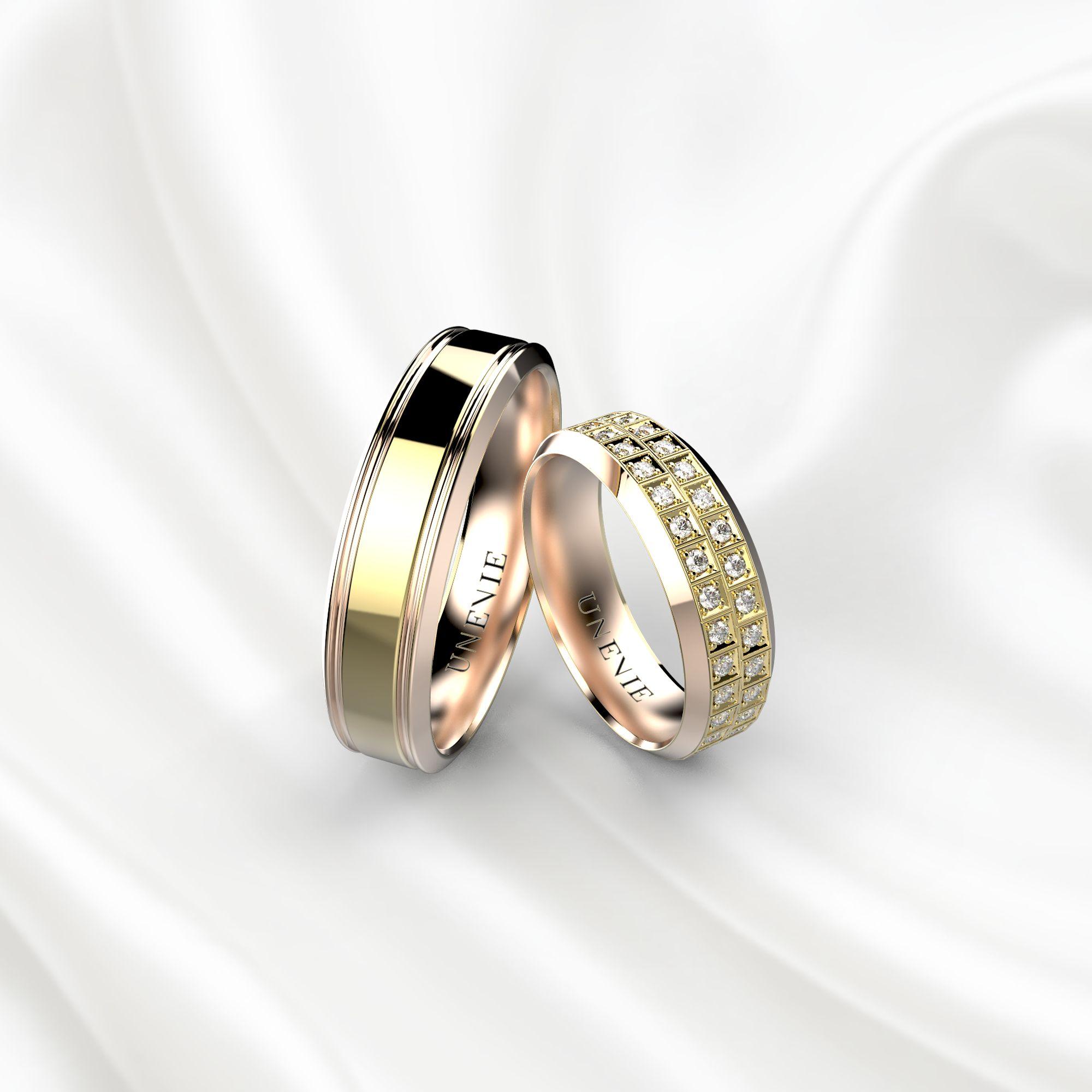 NV21 Обручальные кольца из розово-желтого золота