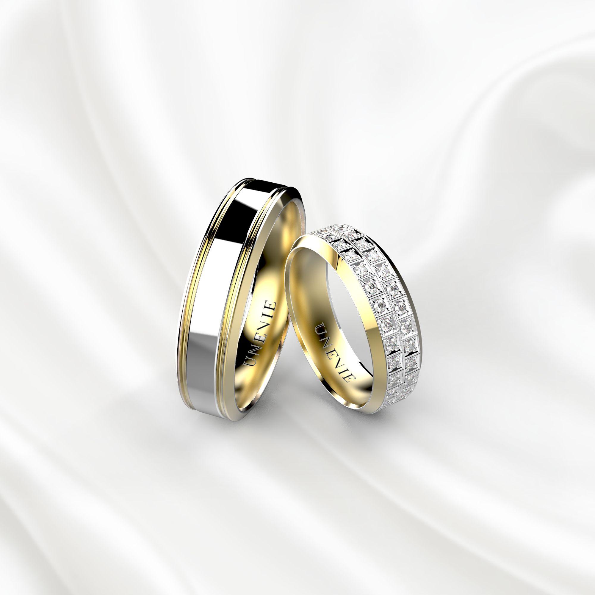 NV21 Обручальные кольца желто-белого золота
