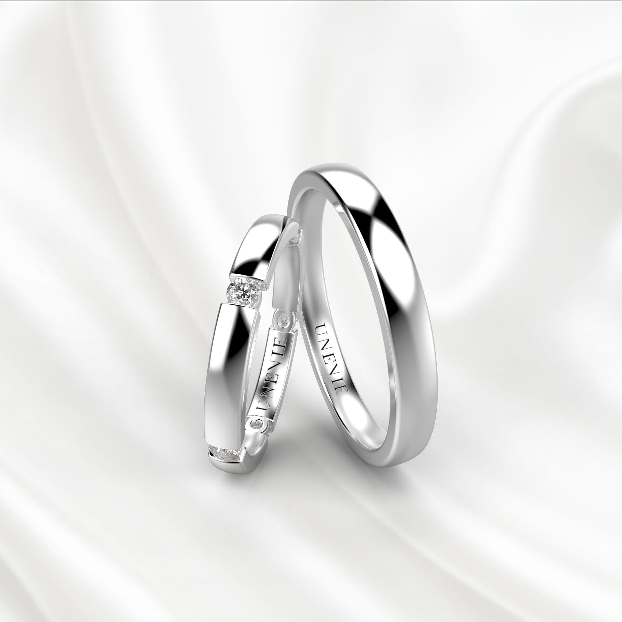 NV22 Обручальные кольца из белого золота