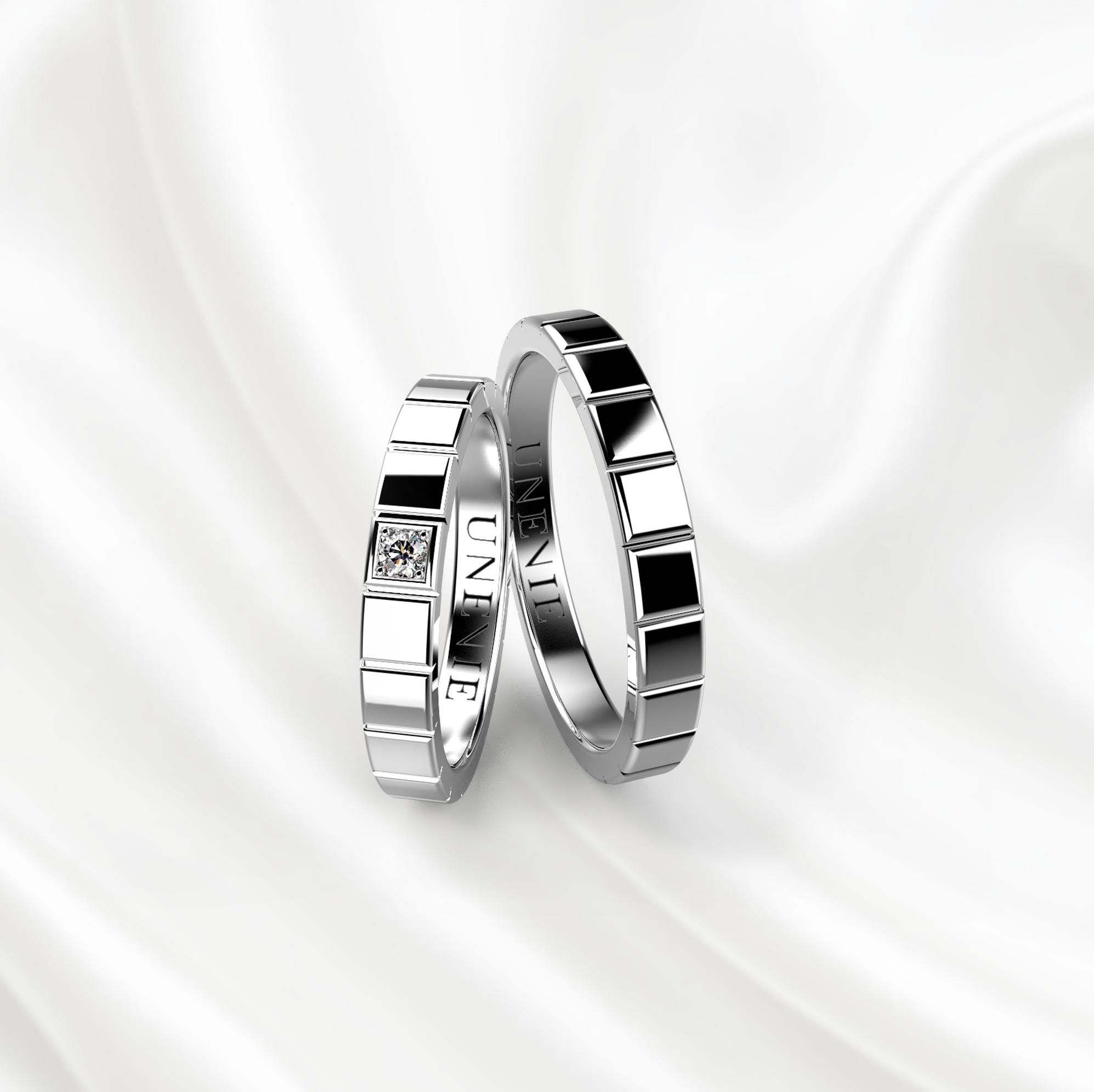 NV25 Обручальные кольца из белого золота с бриллиантом
