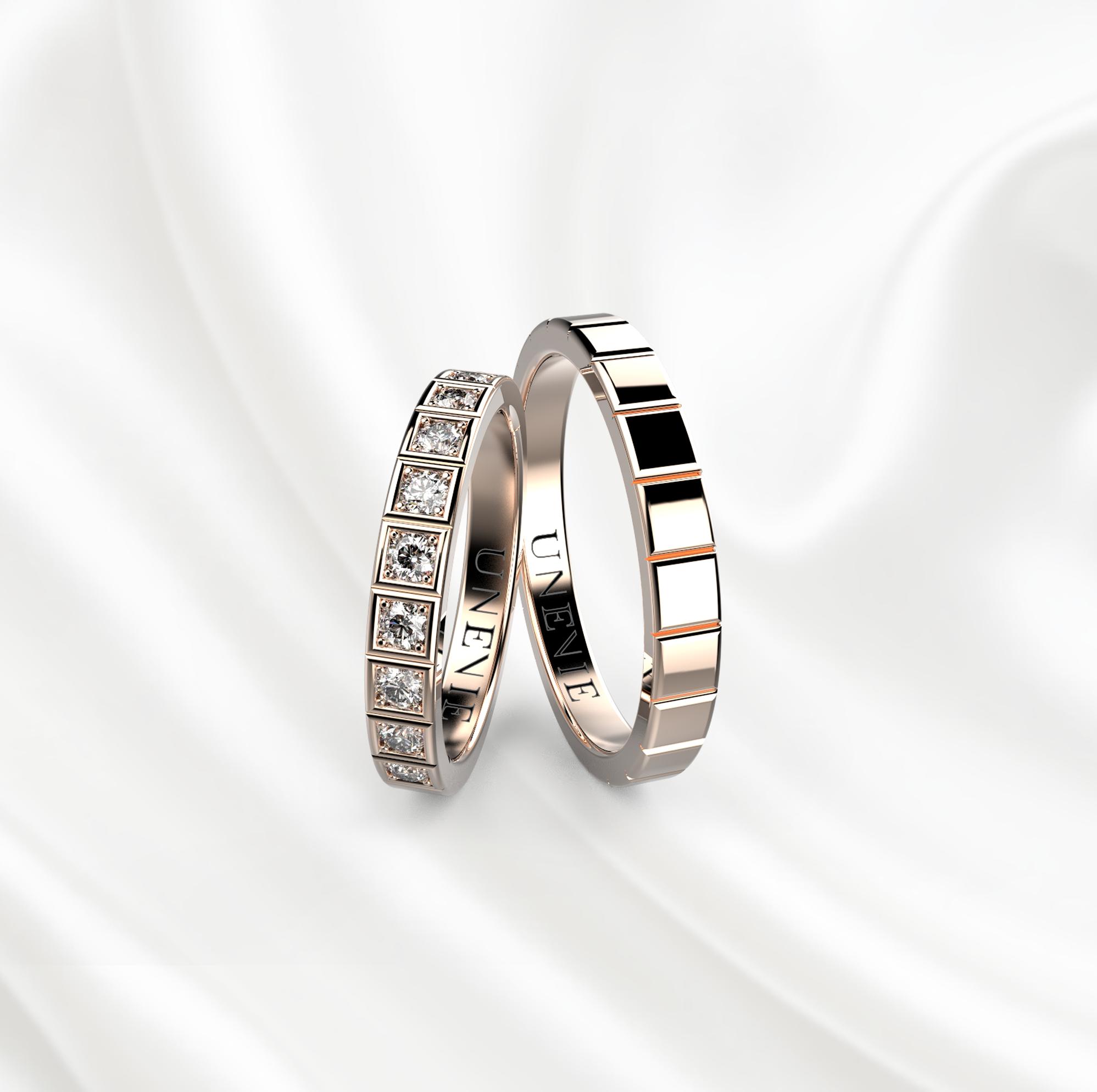 NV26 Обручальные кольца из розового золота с бриллиантами