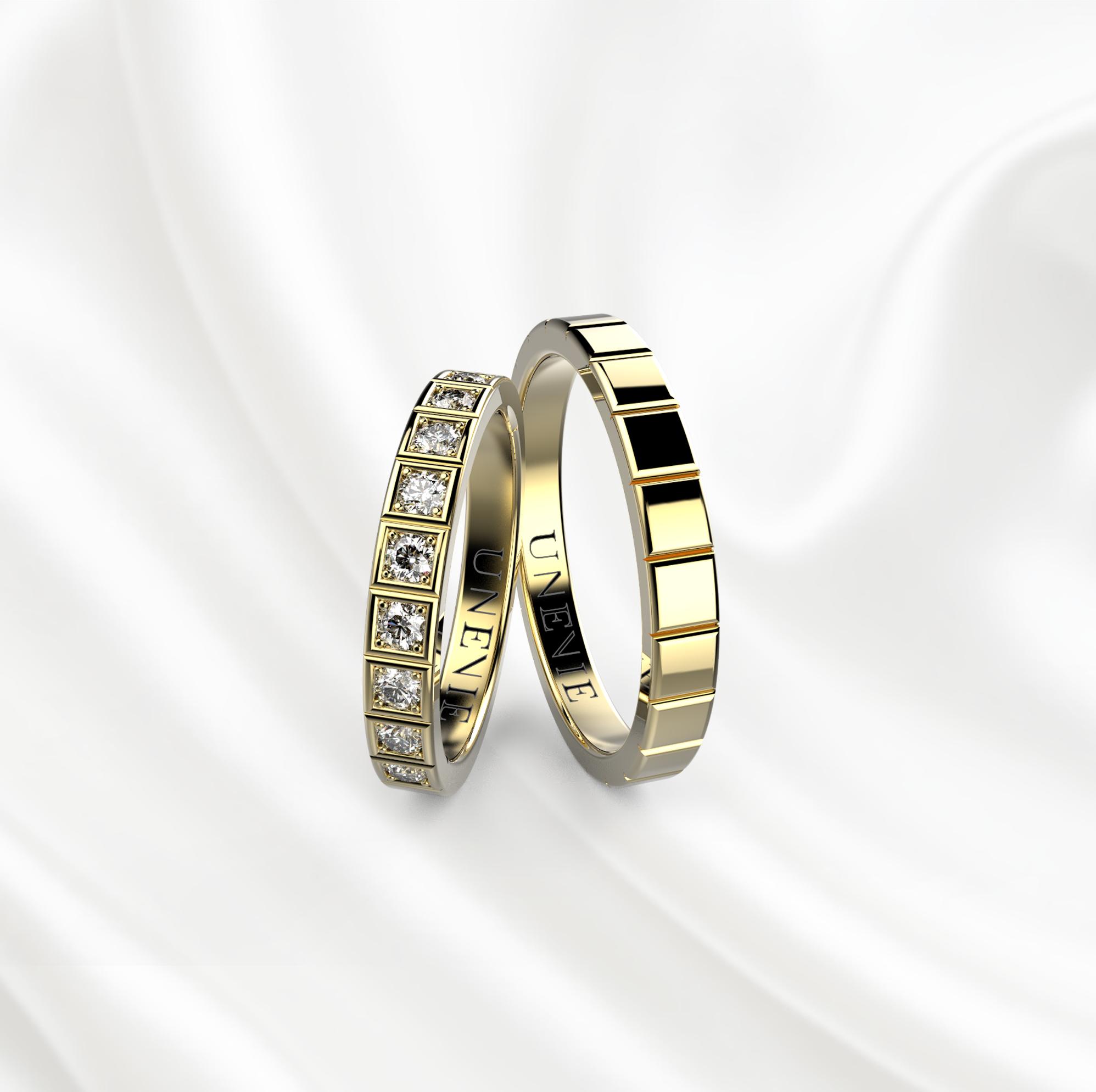 NV26 Обручальные кольца из жёлтого золота с бриллиантами