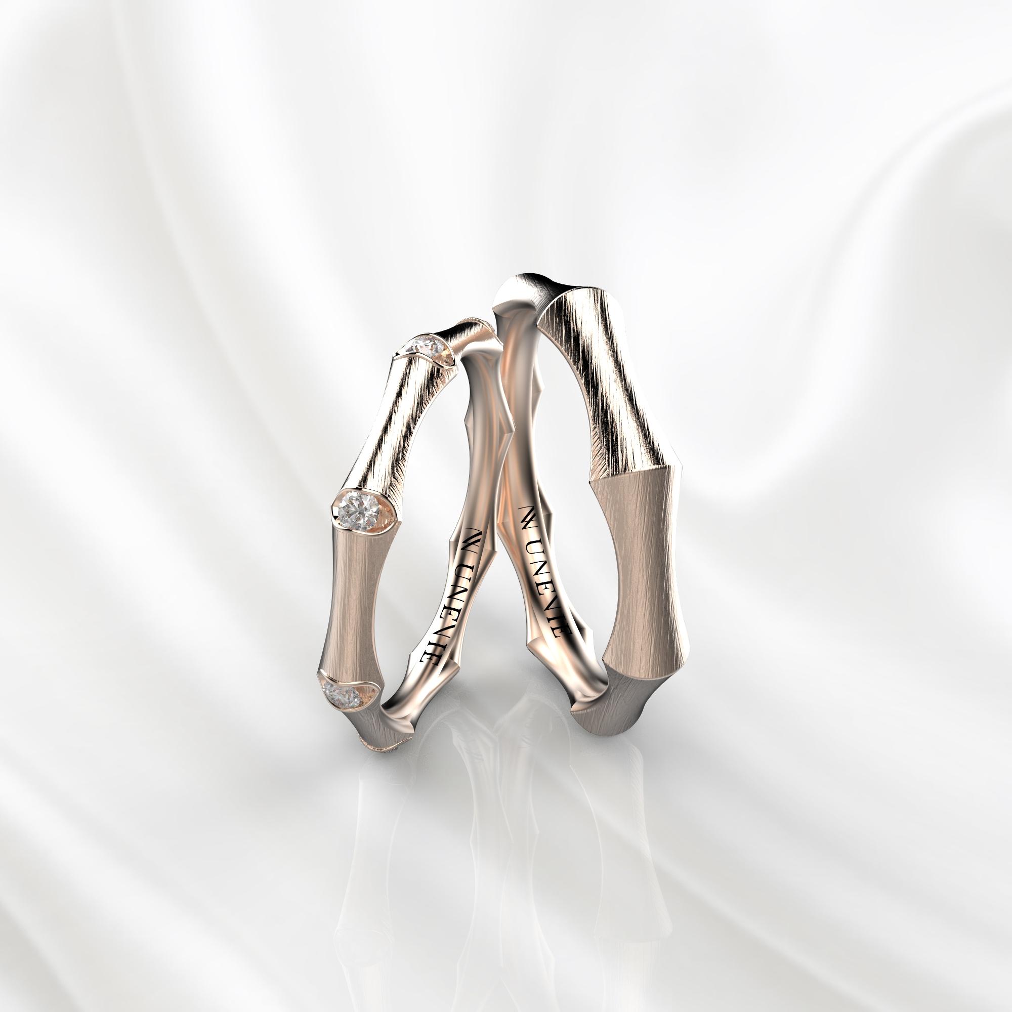 NV49 Парные обручальные кольца из розового золота с бриллиантами