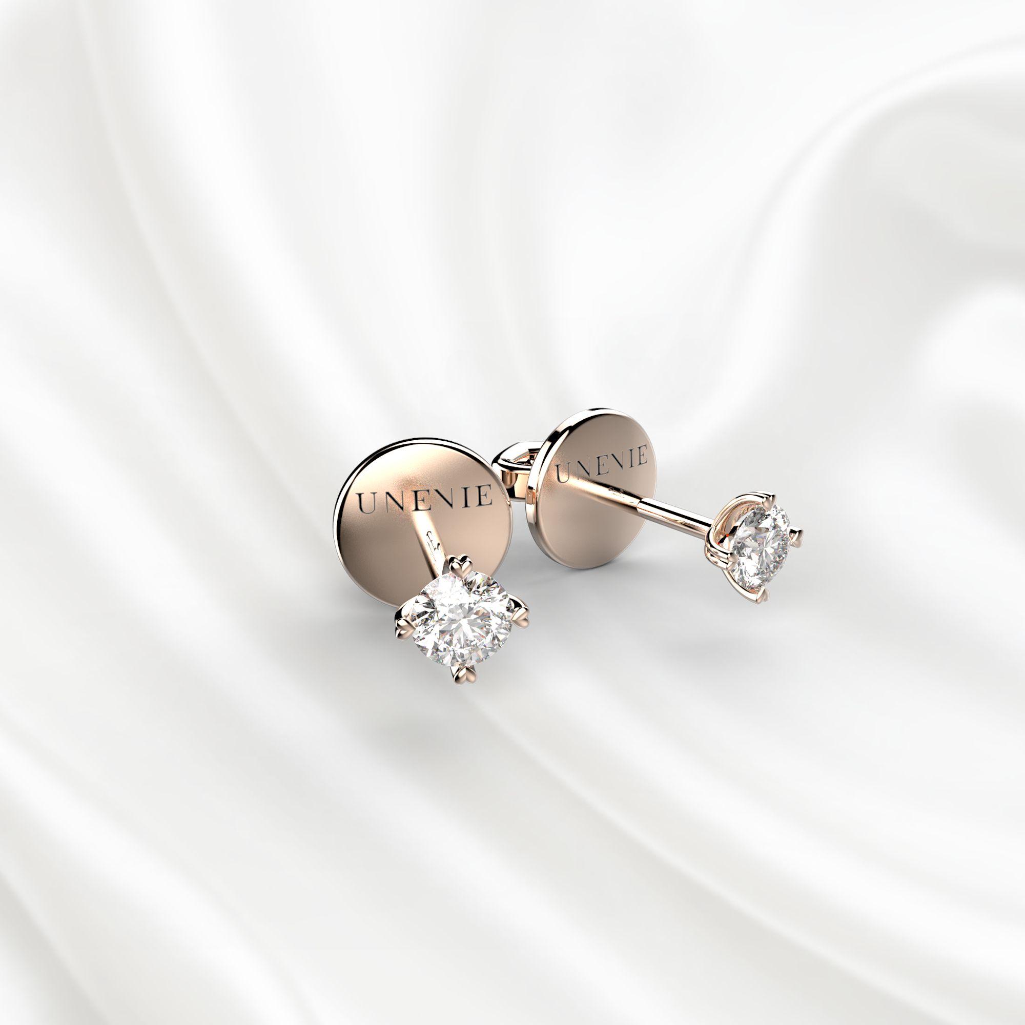 S4 Пусеты из розового золота с бриллиантами 0.2 карат