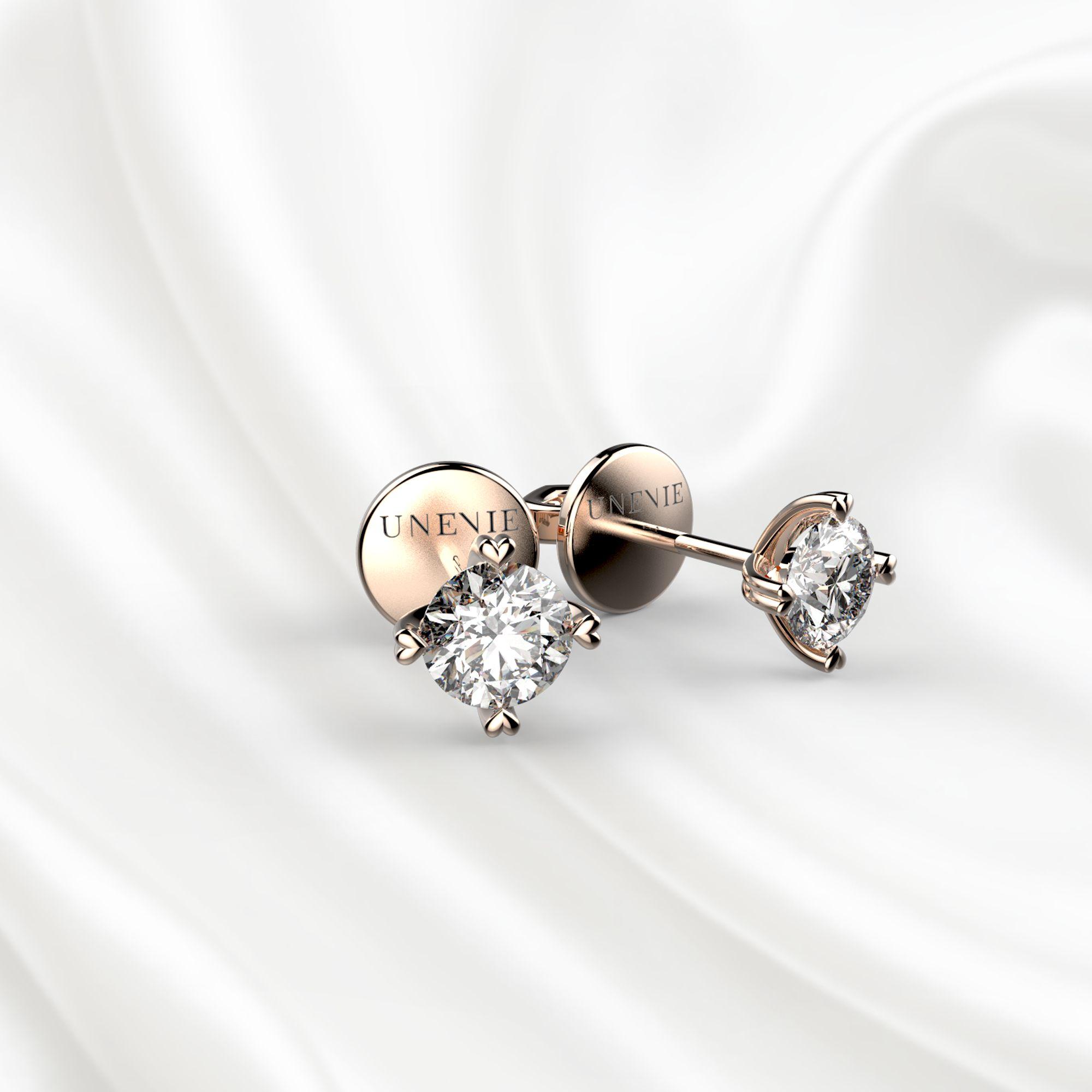 S4 Пусеты из розового золота с бриллиантами 0.3 карат