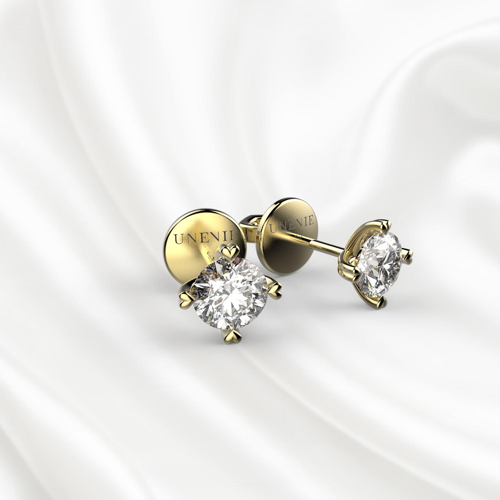 S4 Пусеты из желтого золота с бриллиантами 0.4 карат