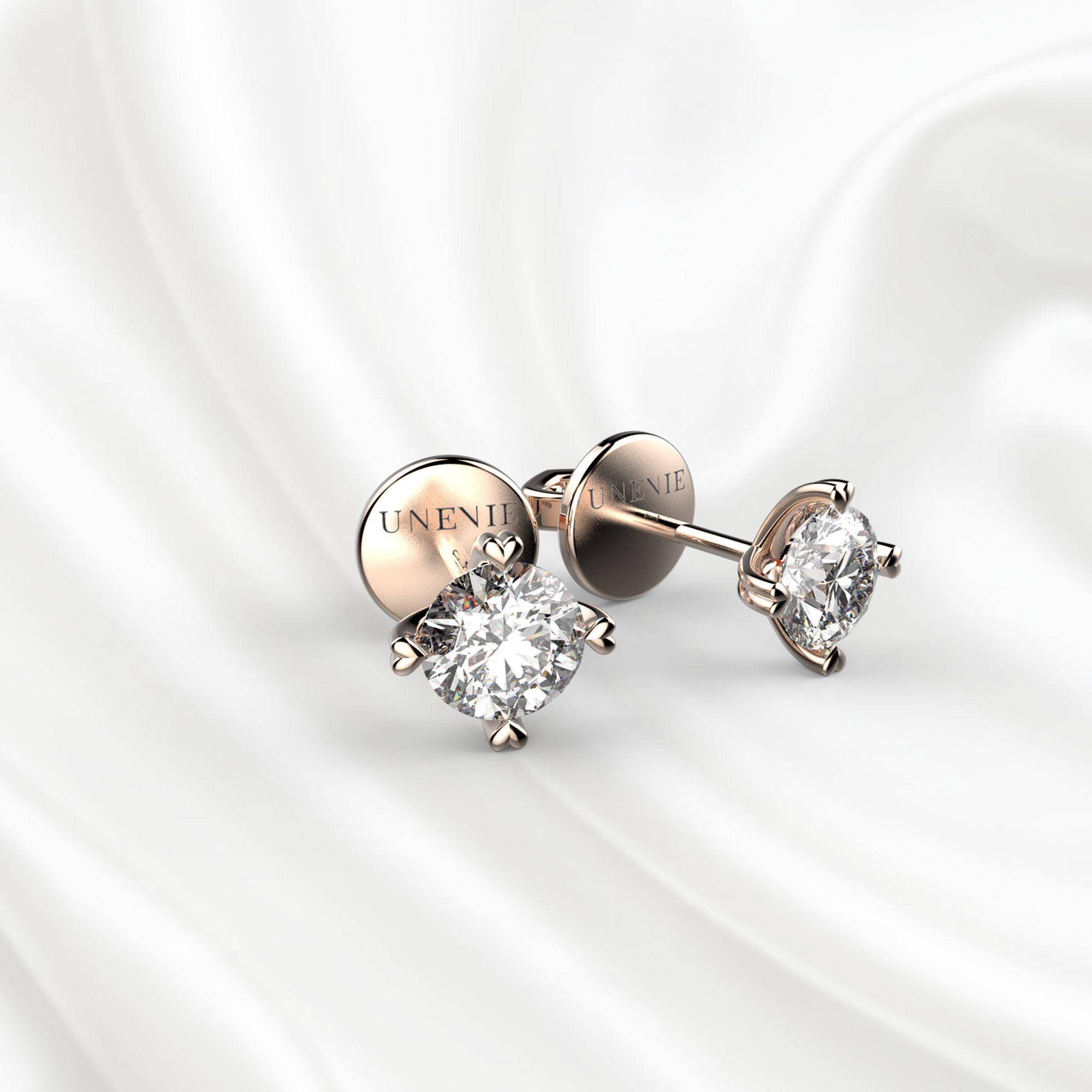 S4 Пусеты из розового золота с бриллиантами 0.4 карат