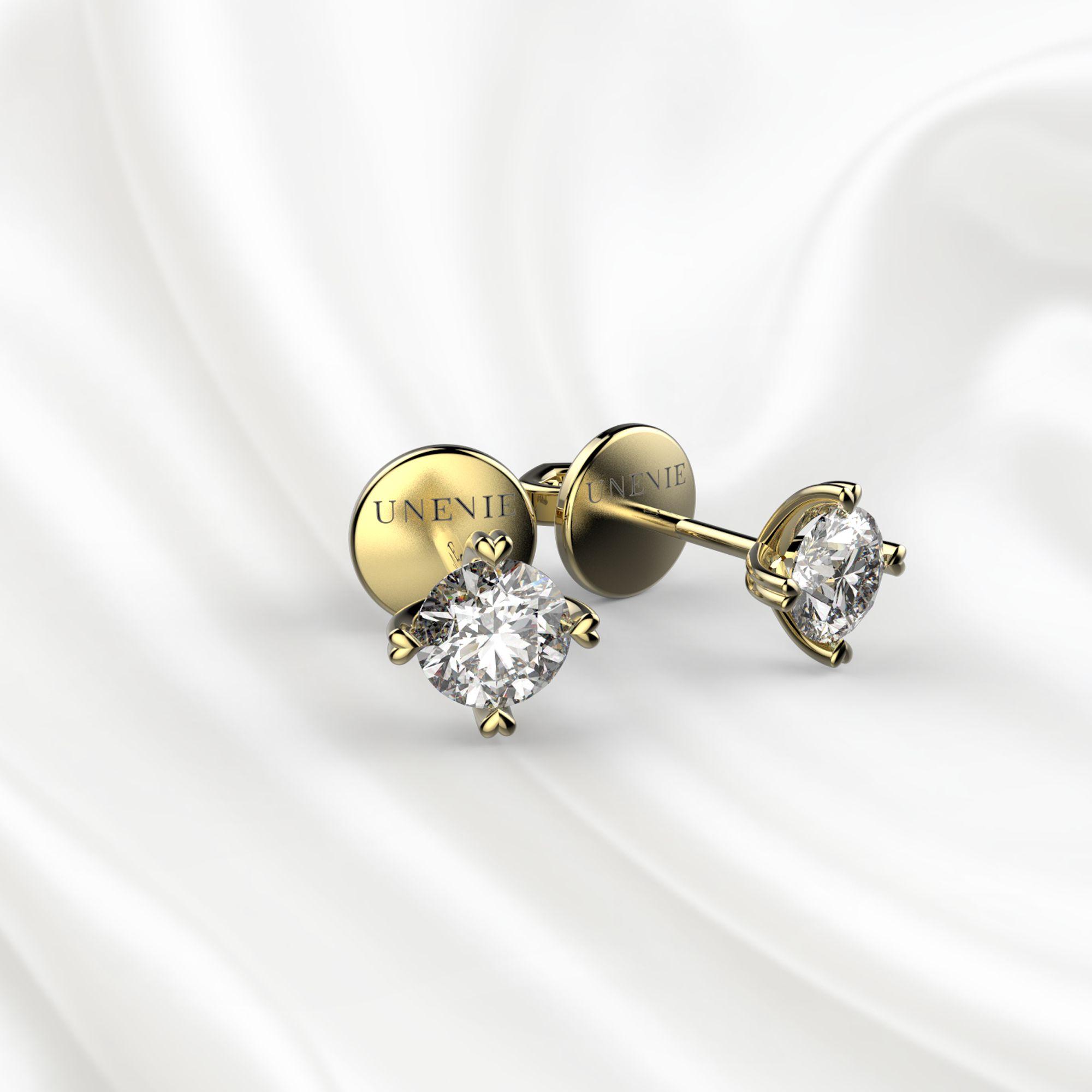 S4 Пусеты из желтого золота с бриллиантами 0.5 карат