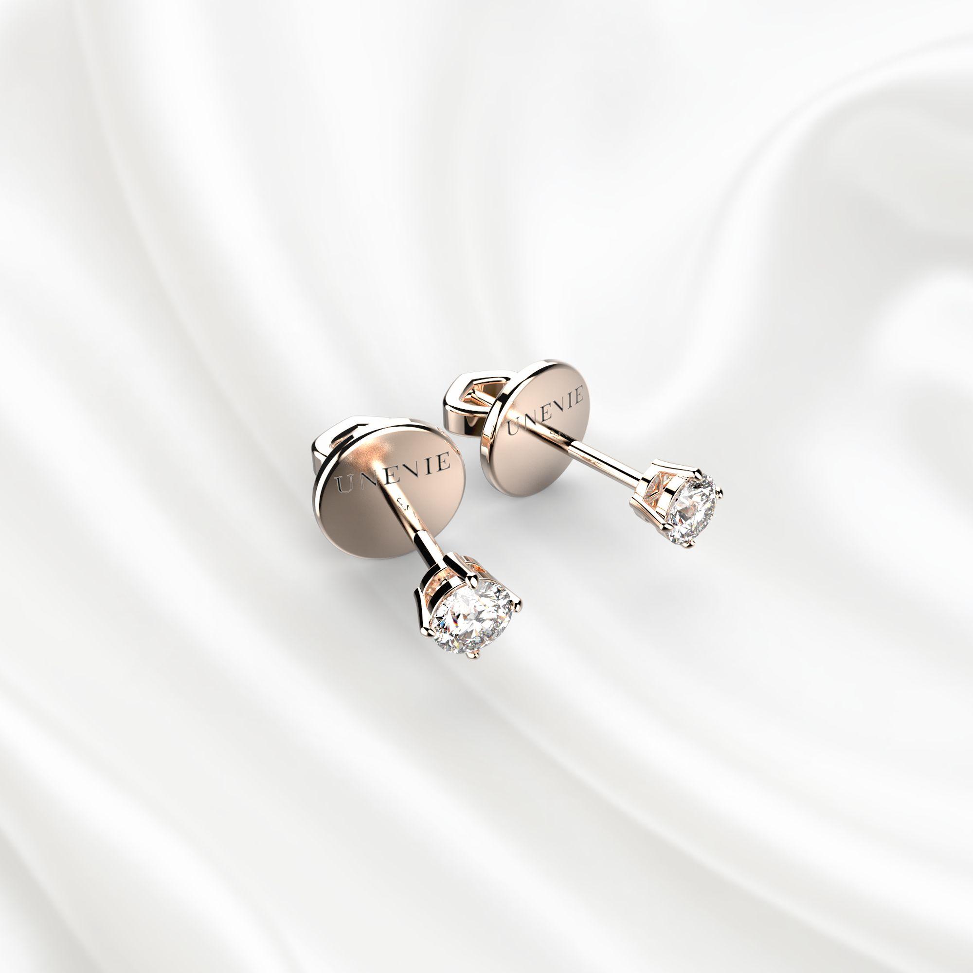 S3 Серьги-пусеты из розового золота с бриллиантами 0.1 карат