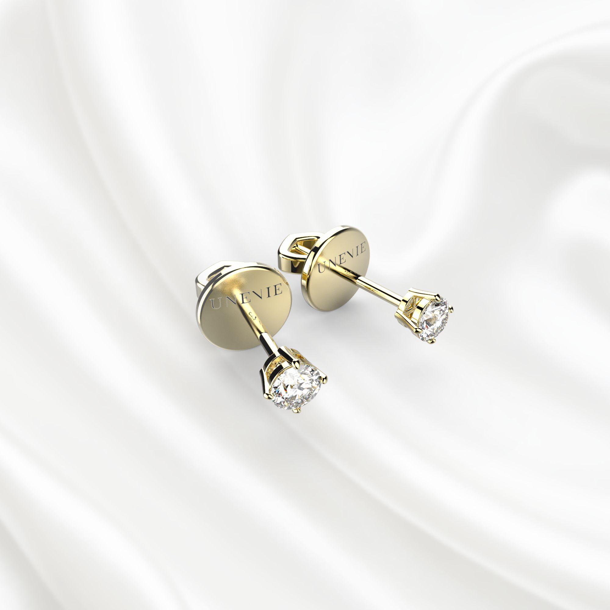 S3 Серьги- пусеты из желтого золота с бриллиантами 0,1 карат
