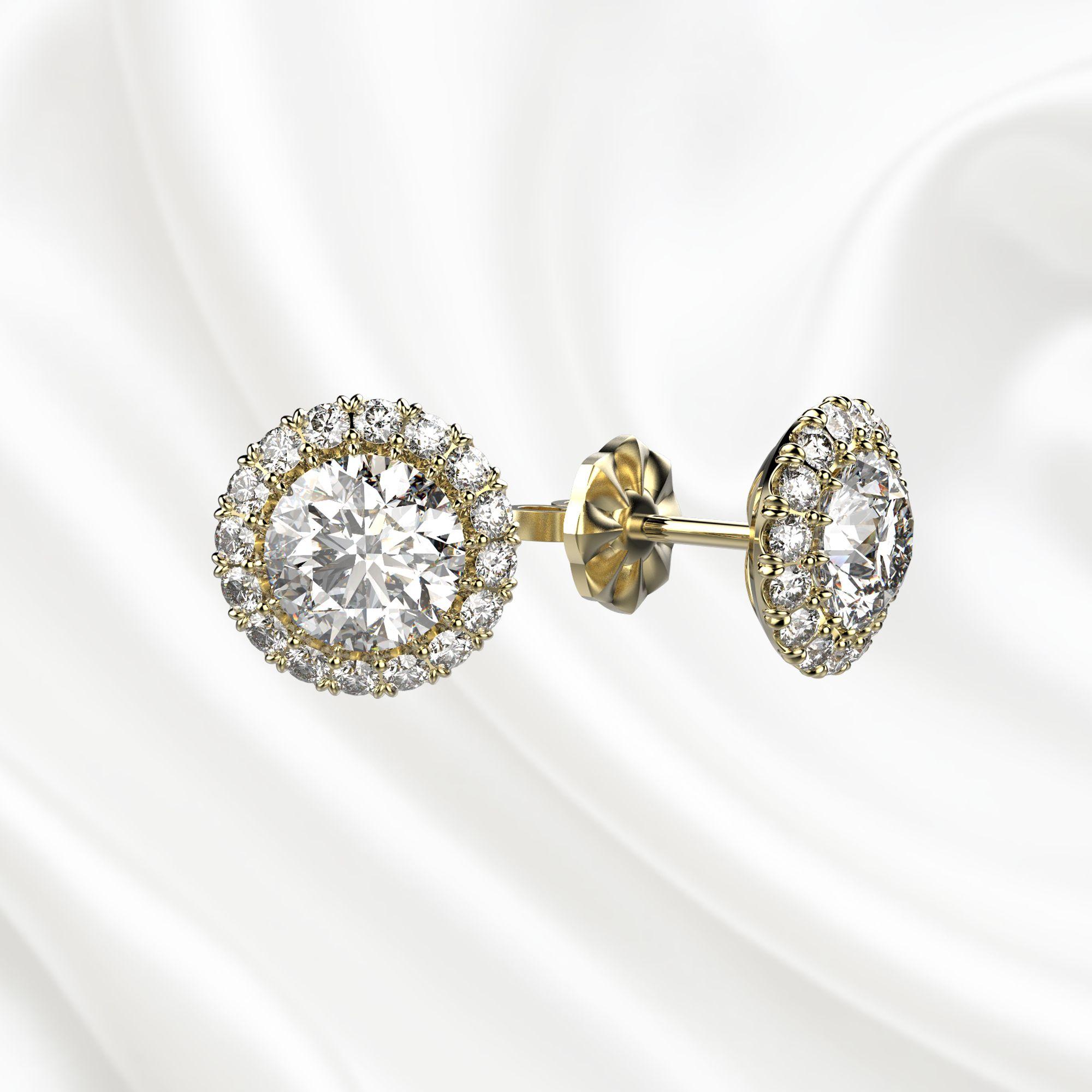 S2 Серьги-пусеты с бриллиантами из желтого золота