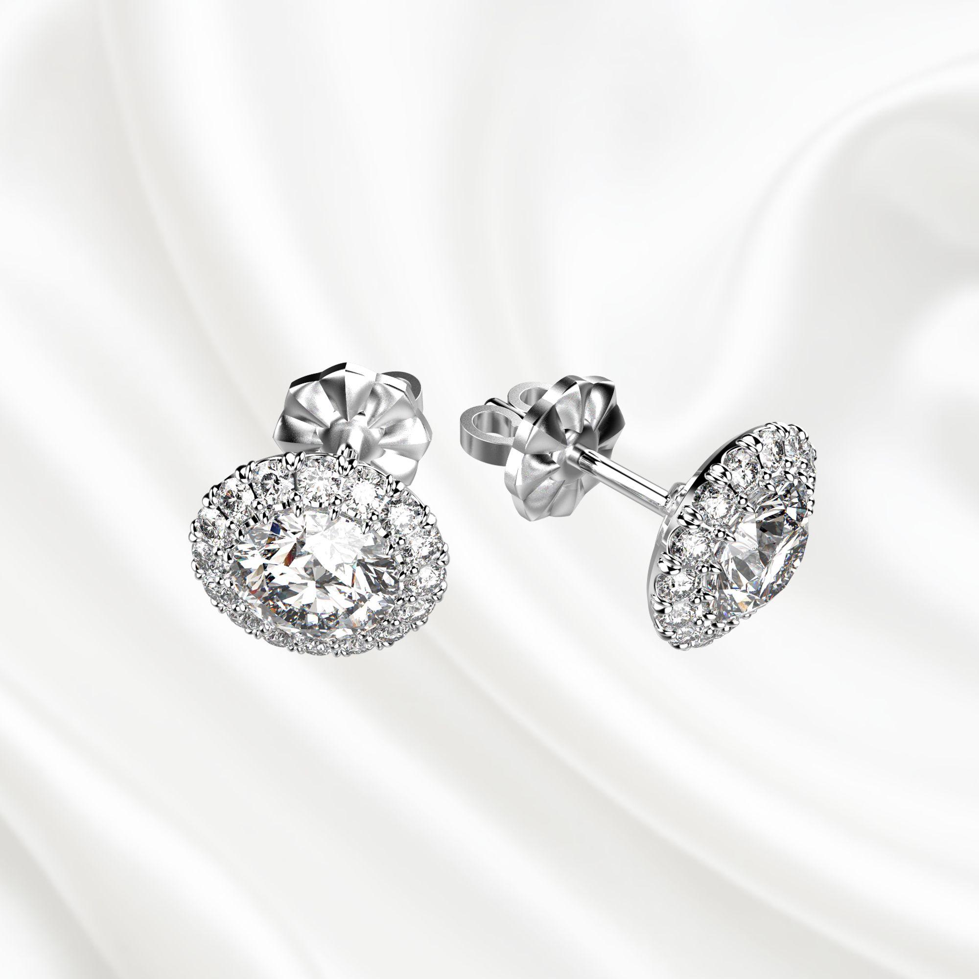 S2 Серьги-пусеты с бриллиантами из белого золота
