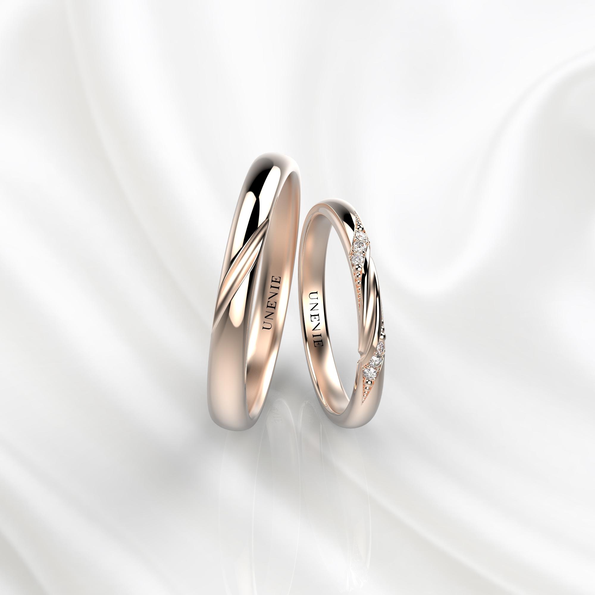 NV47 Парные обручальные кольца из розового золота с бриллиантами