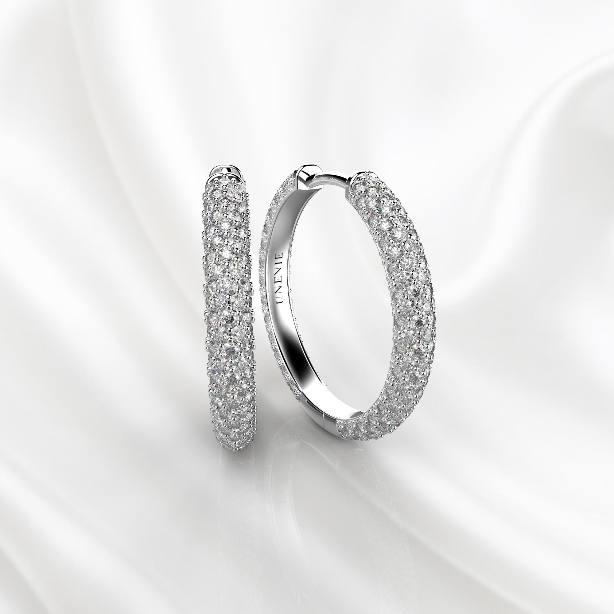 S10 Серьги-кольца из белого золота с бриллиантами