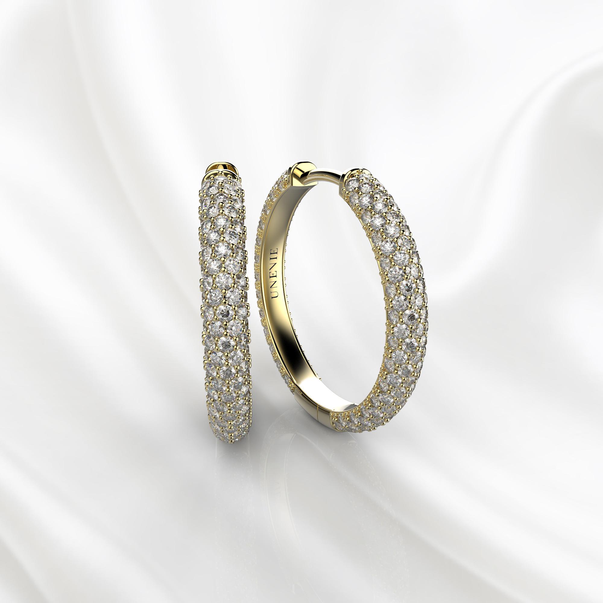 S10 Серьги-кольца из желтого золота с бриллиантами