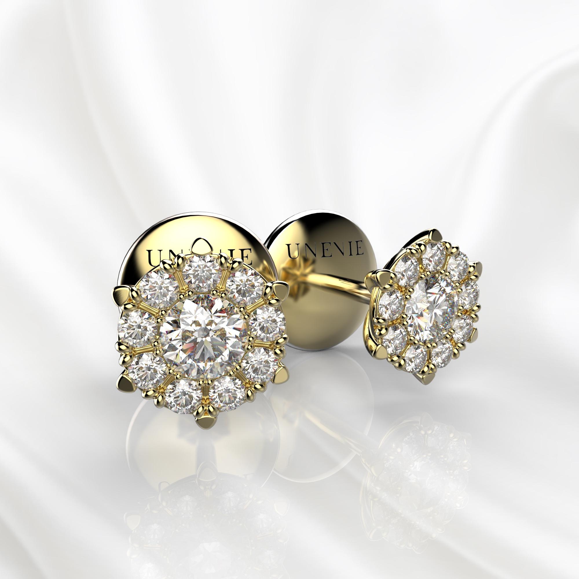S13 Серьги-пусеты из желтого золота с бриллиантами 0.2 карат