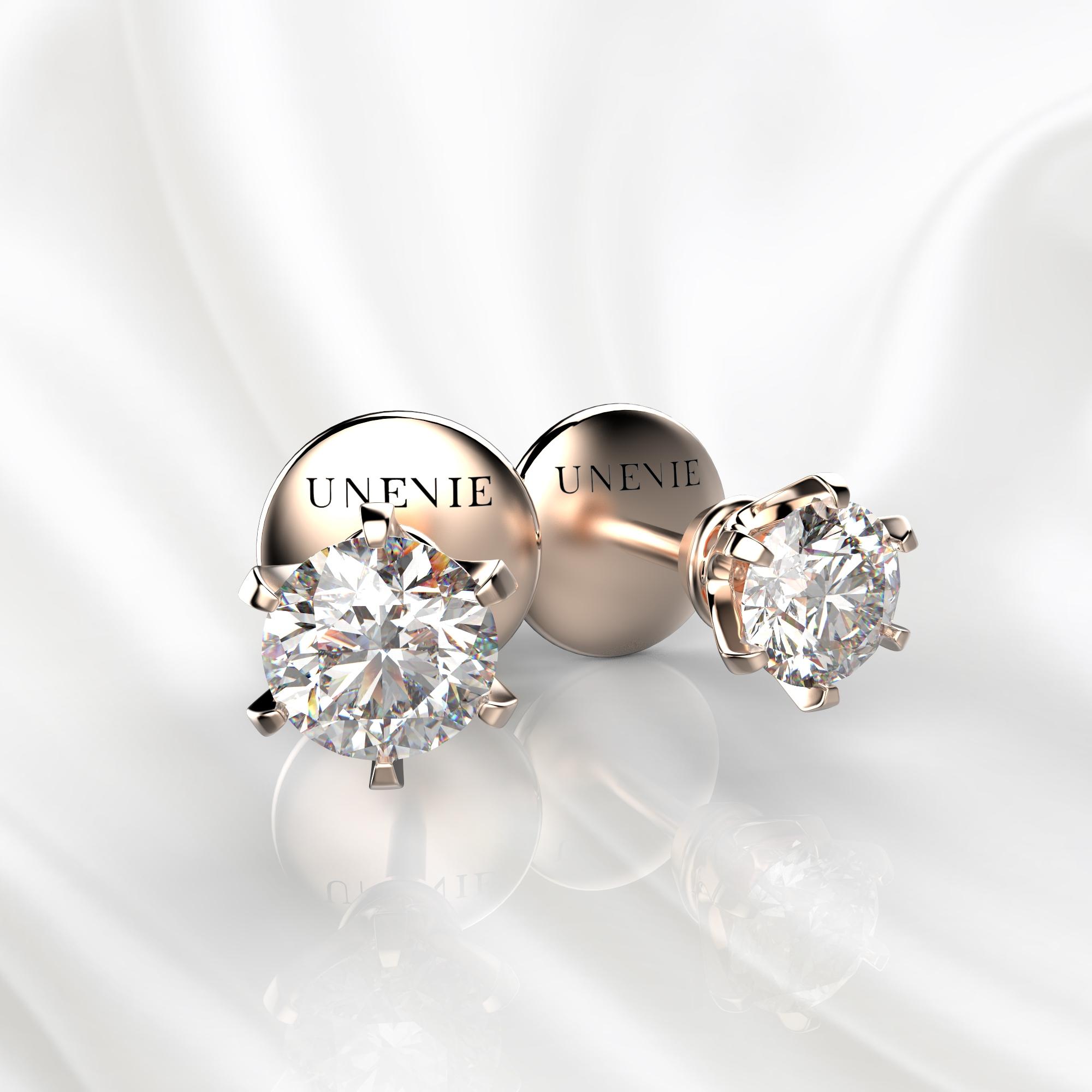 S14 Серьги-пусеты из розового золота с бриллиантами 0.3 карат