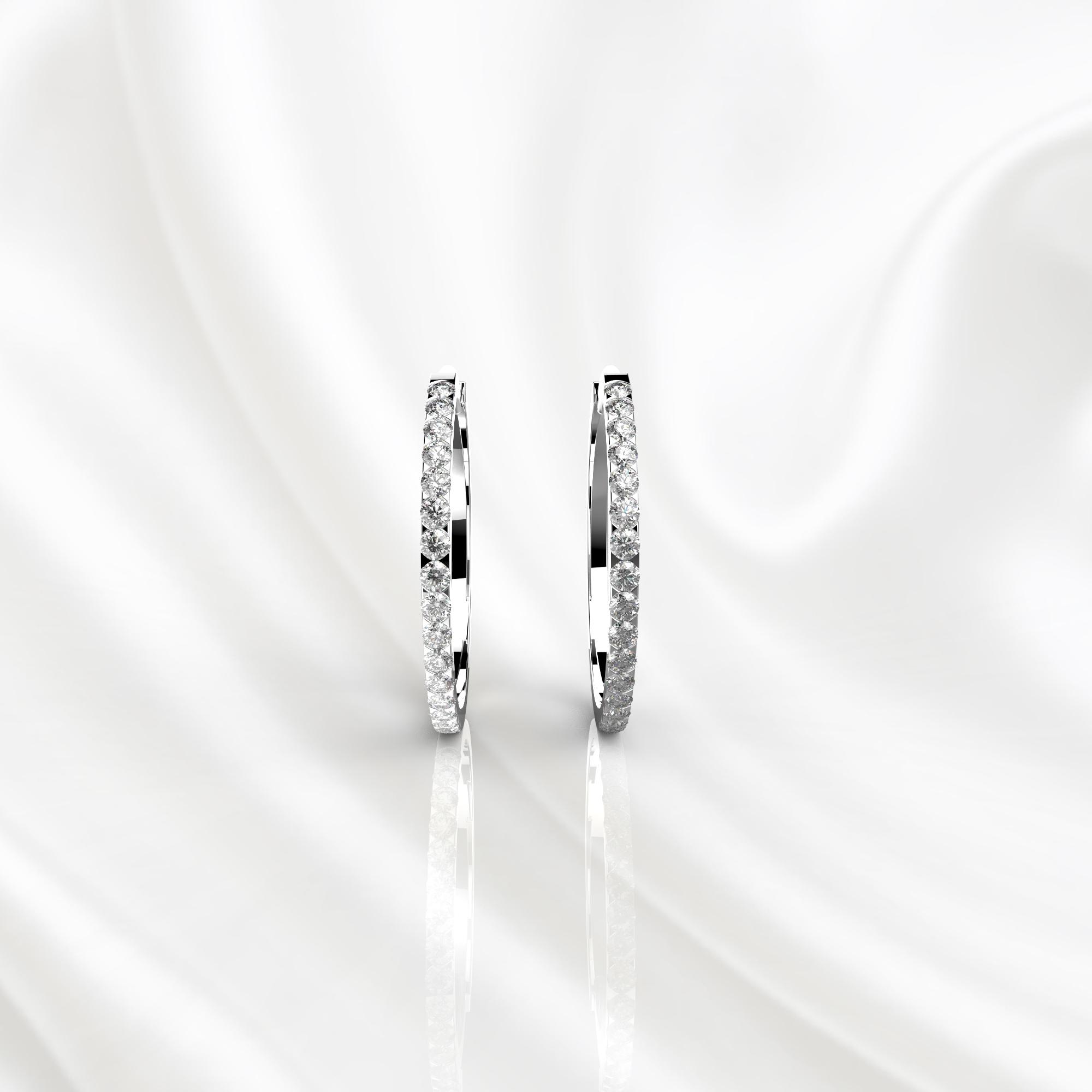 S17 Серьги-конго из белого золота с бриллиантами
