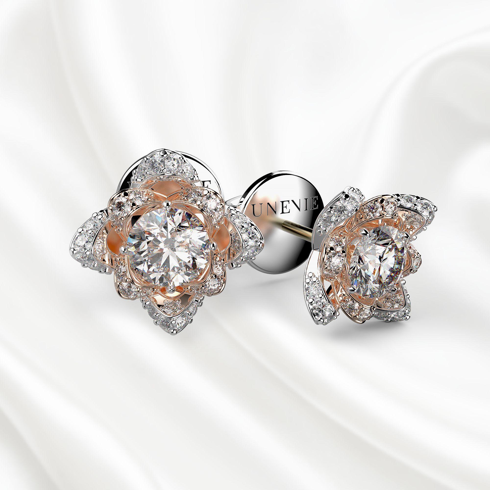 S5 Серьги из белого-розового золота с 34 бриллиантами 0.86 карат