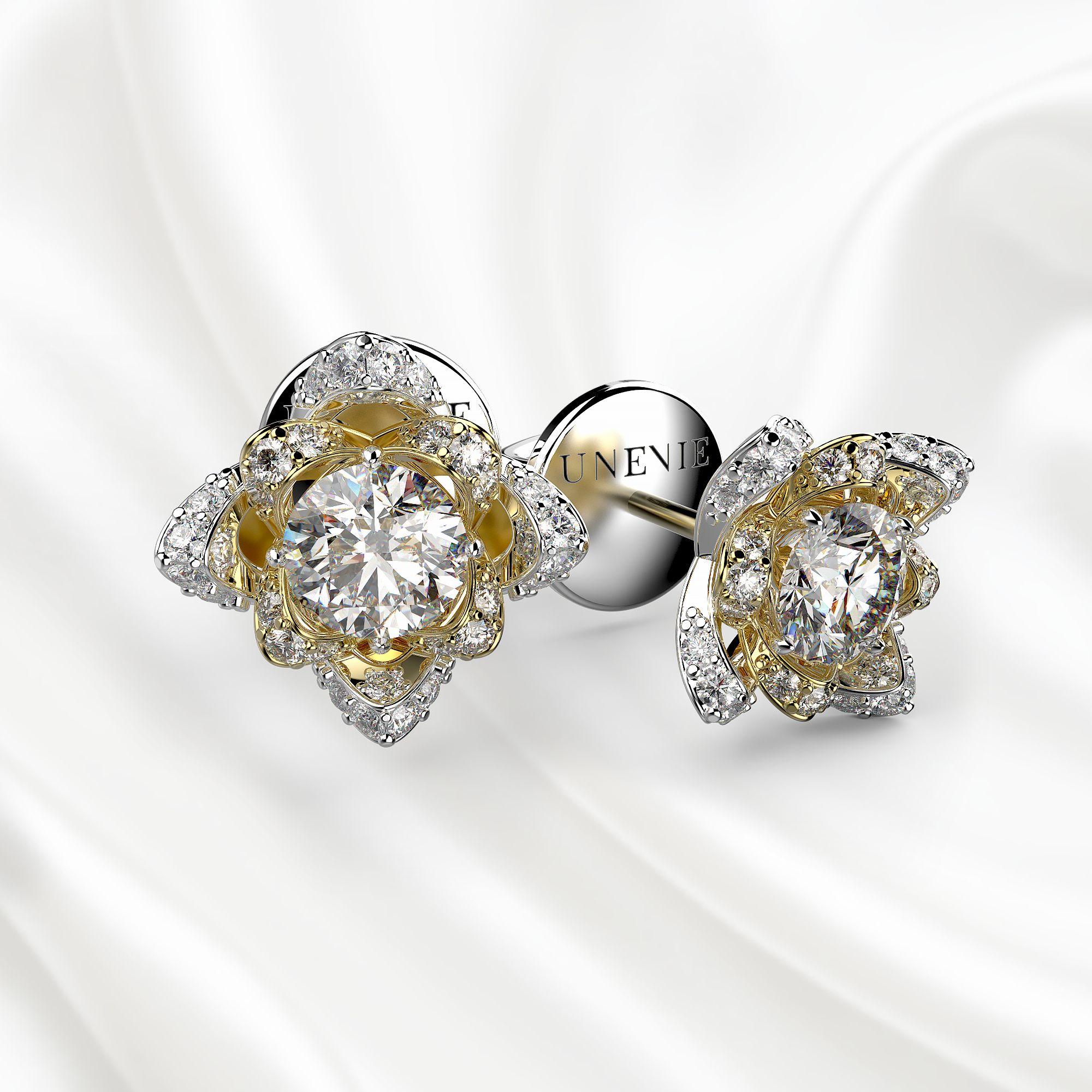 S5 Серьги из белого-желтого золота с 34 бриллиантами 0.86 карат