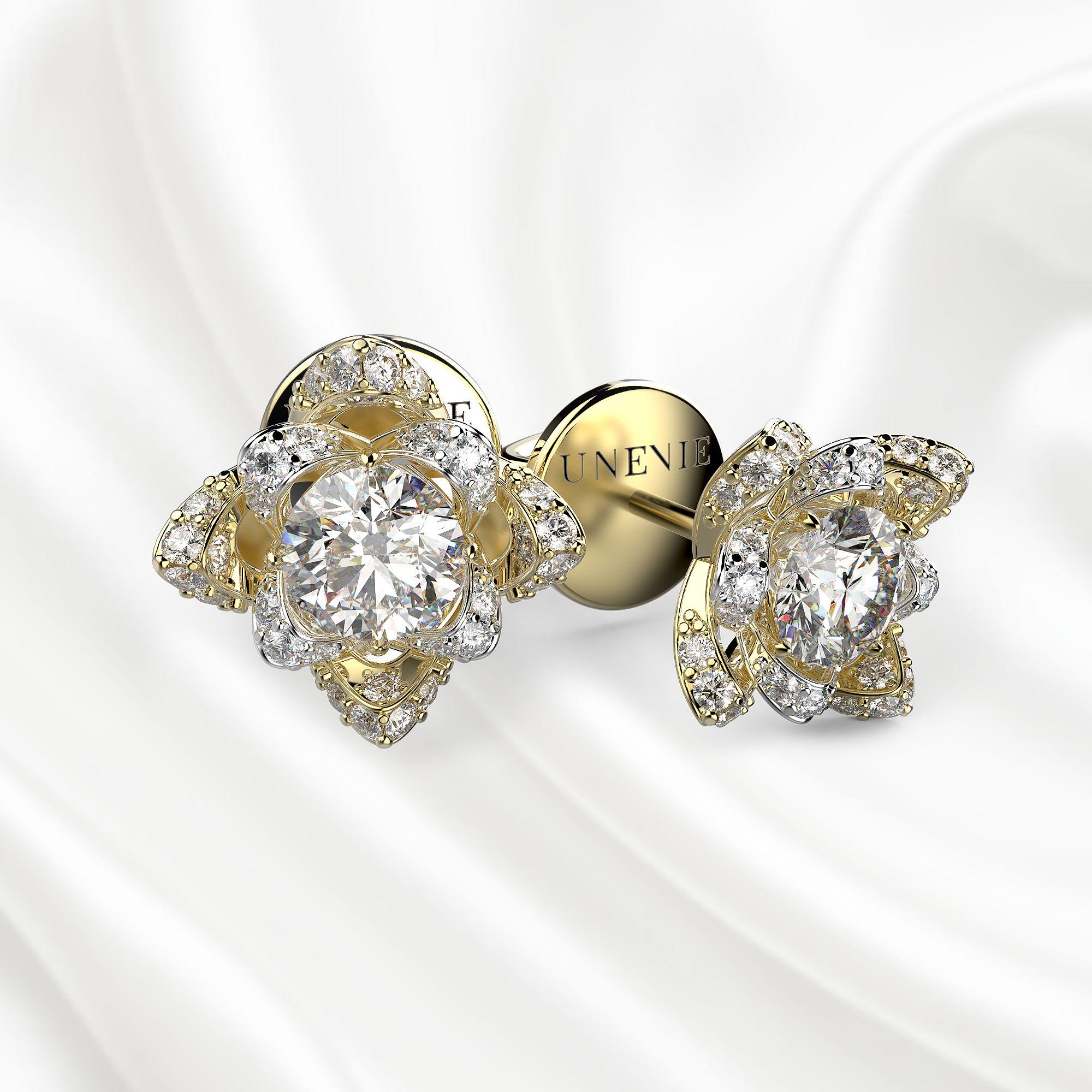S5 Серьги из желто-белого золота с 34 бриллиантами 0.86 карат