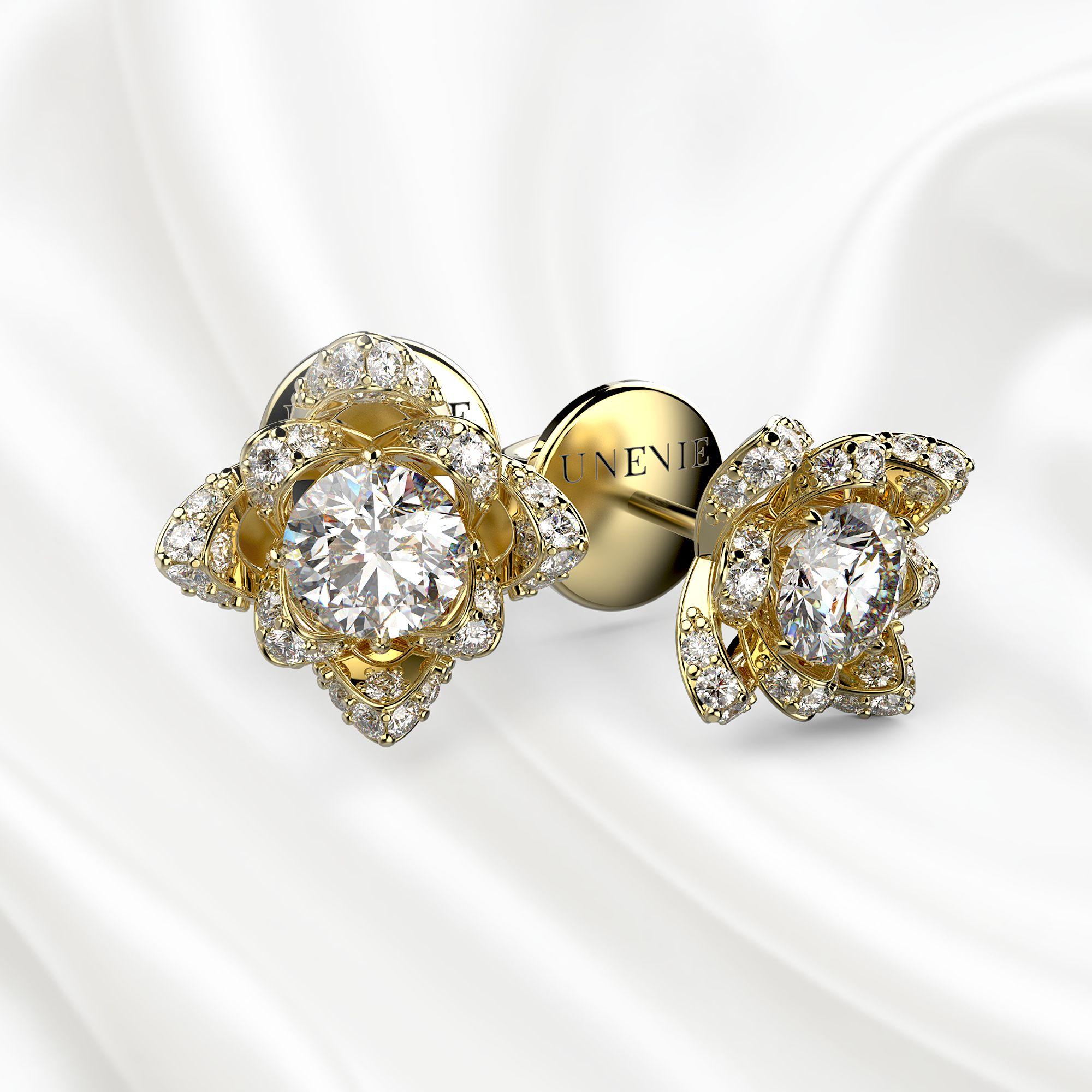 S5 Серьги из желтого золота с 34 бриллиантами 0.86 карат