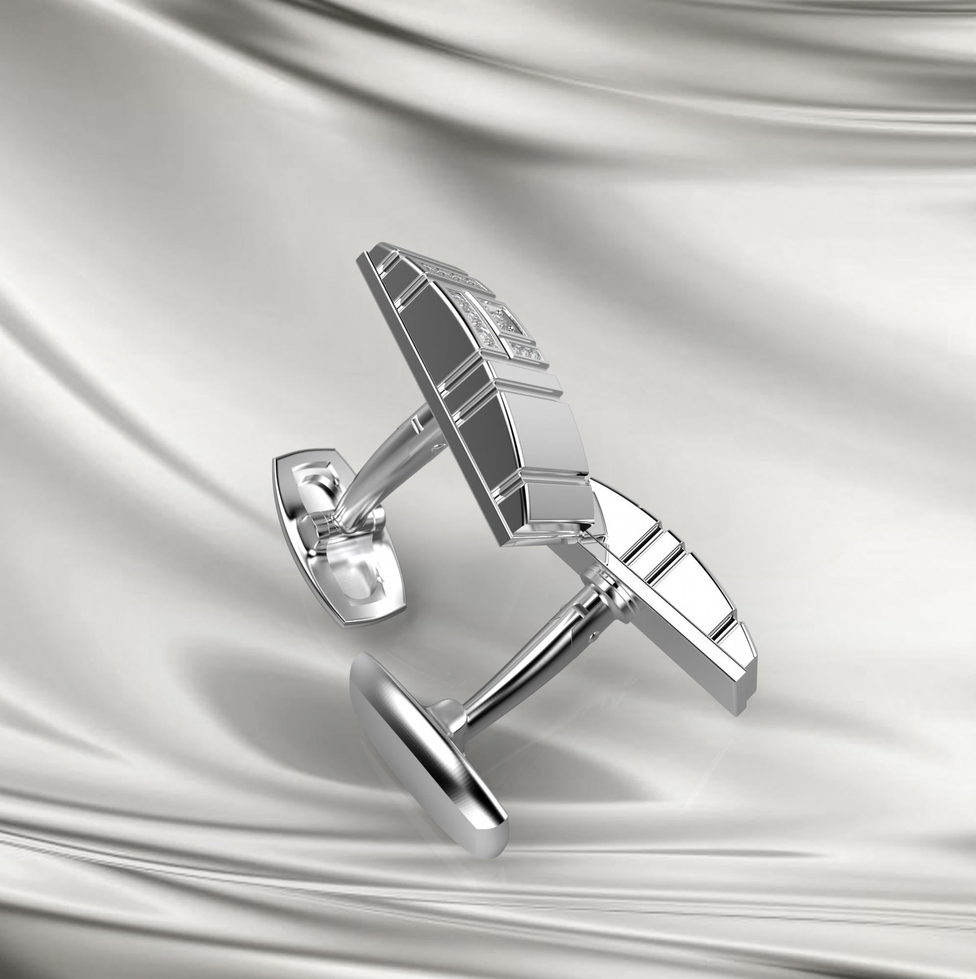 M13 Запонки из серебра с фианитами