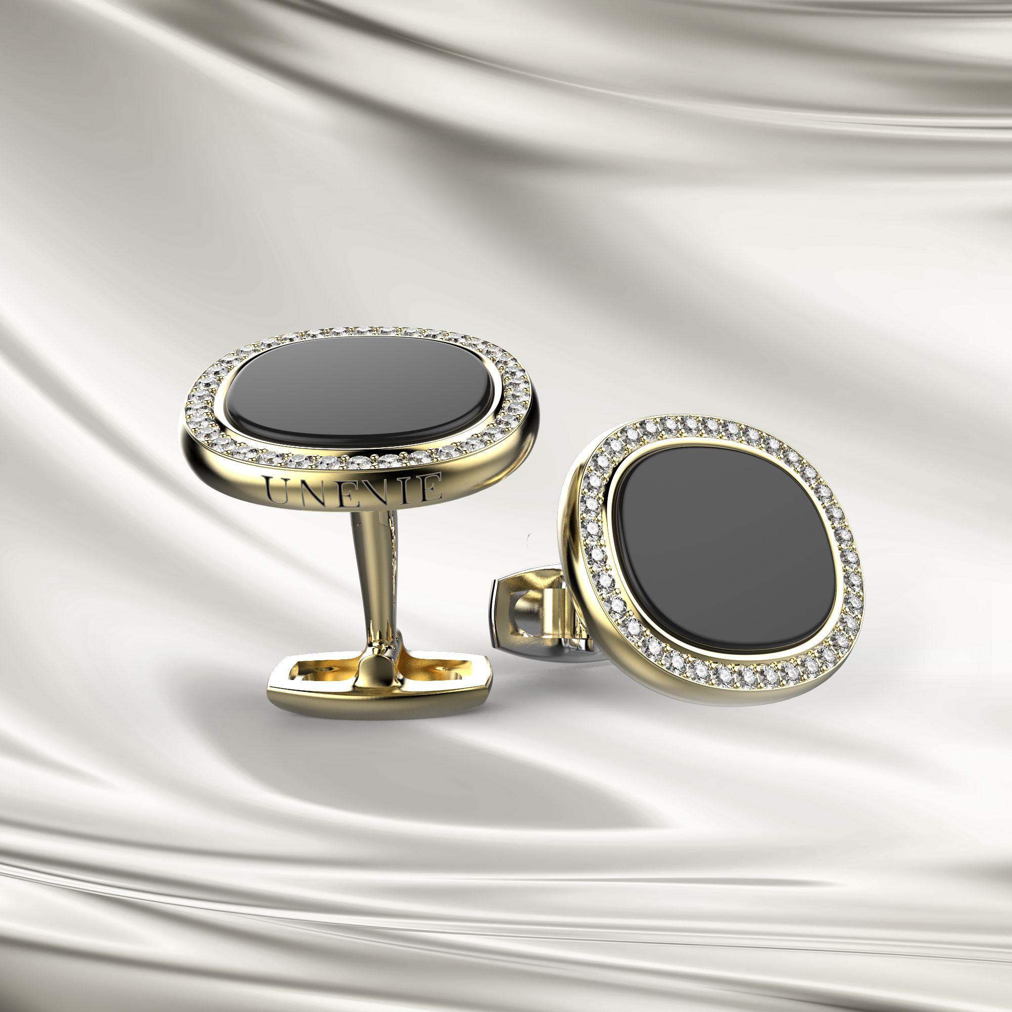 М3 Запонки с бриллиантами и агатом из желтого золота