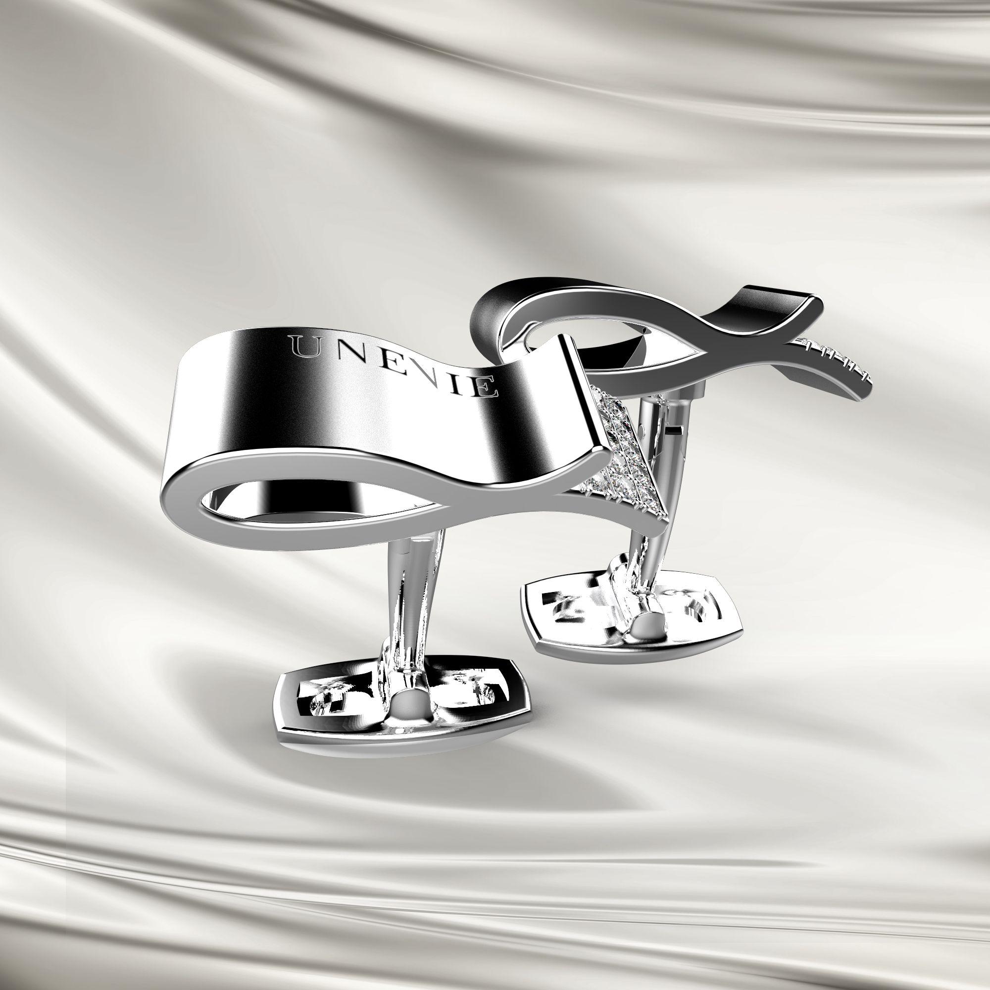 М4 Запонки из серебра с фианитами