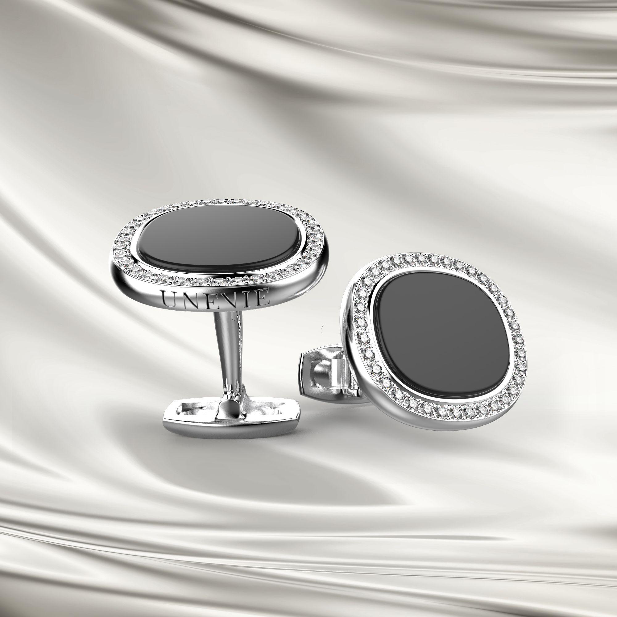 М5 Запонки из серебра с агатом и фианитами