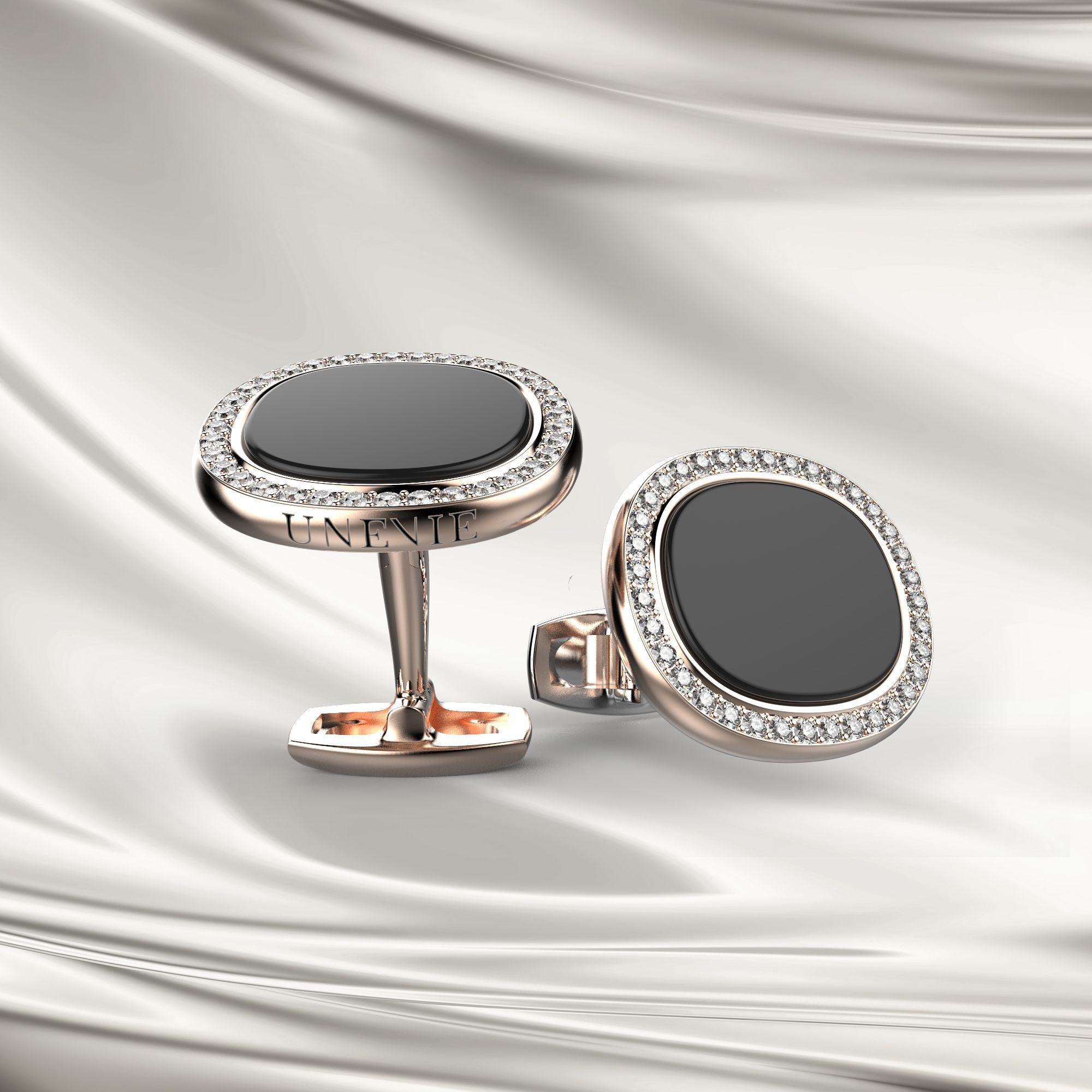 М3 Запонки с бриллиантами и агатом из розового золота