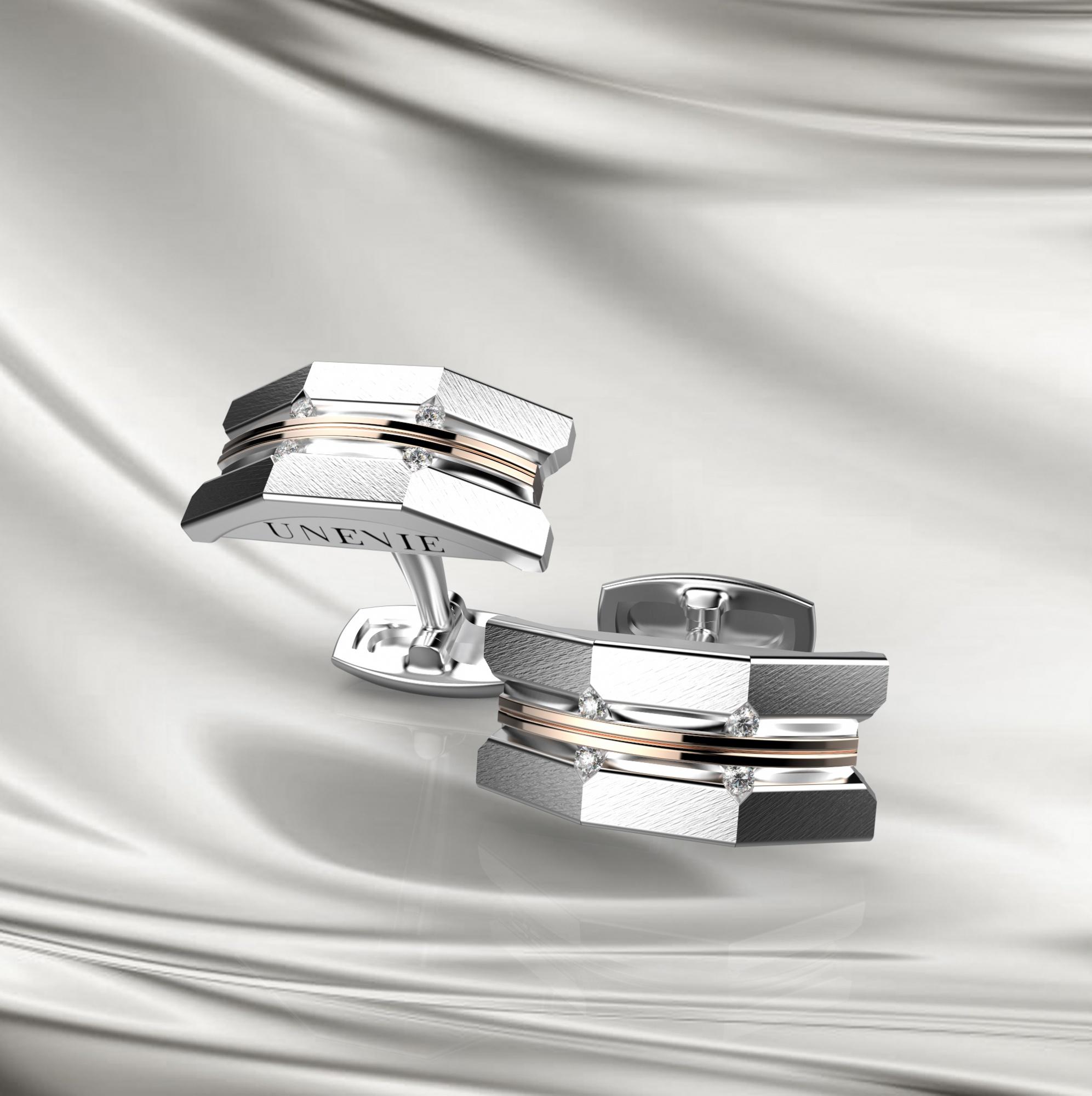 М10 Запонки из бело-розового золота с бриллиантами